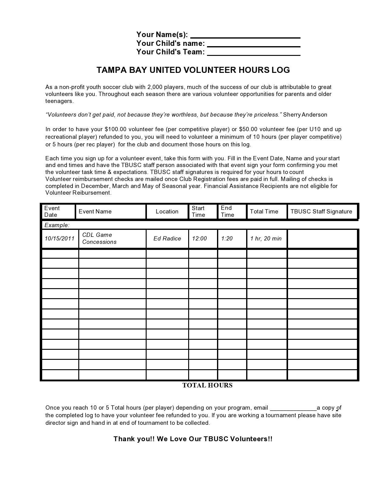 Free volunteer hours log 15