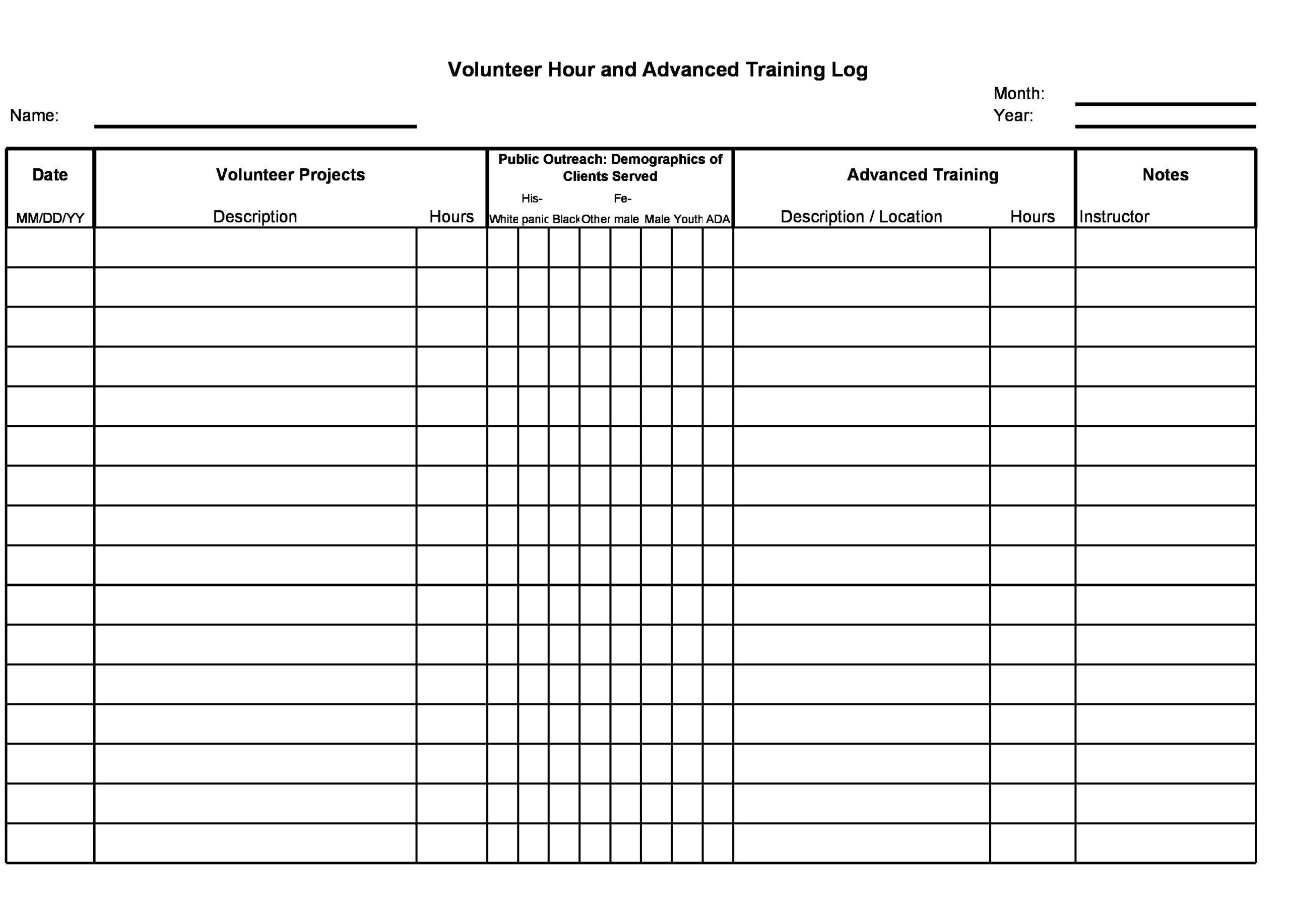 Free volunteer hours log 17