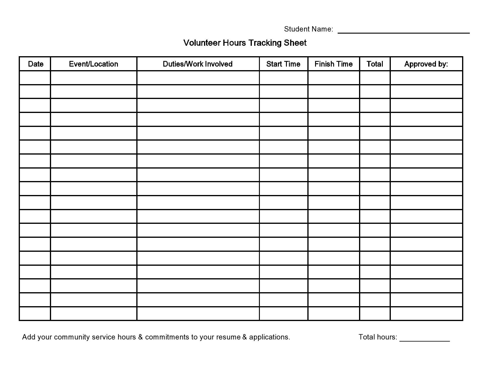 Free volunteer hours log 26