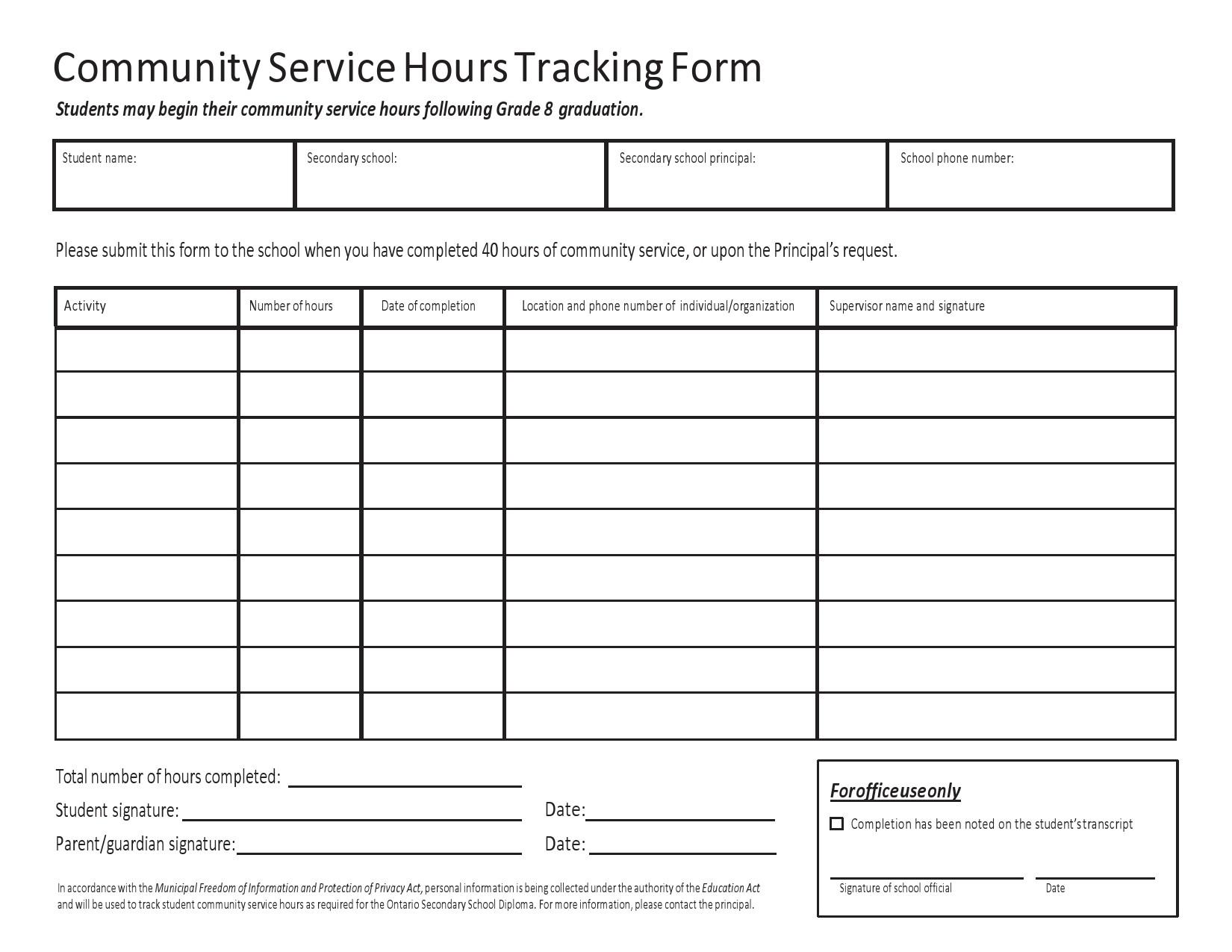 Free volunteer hours log 33