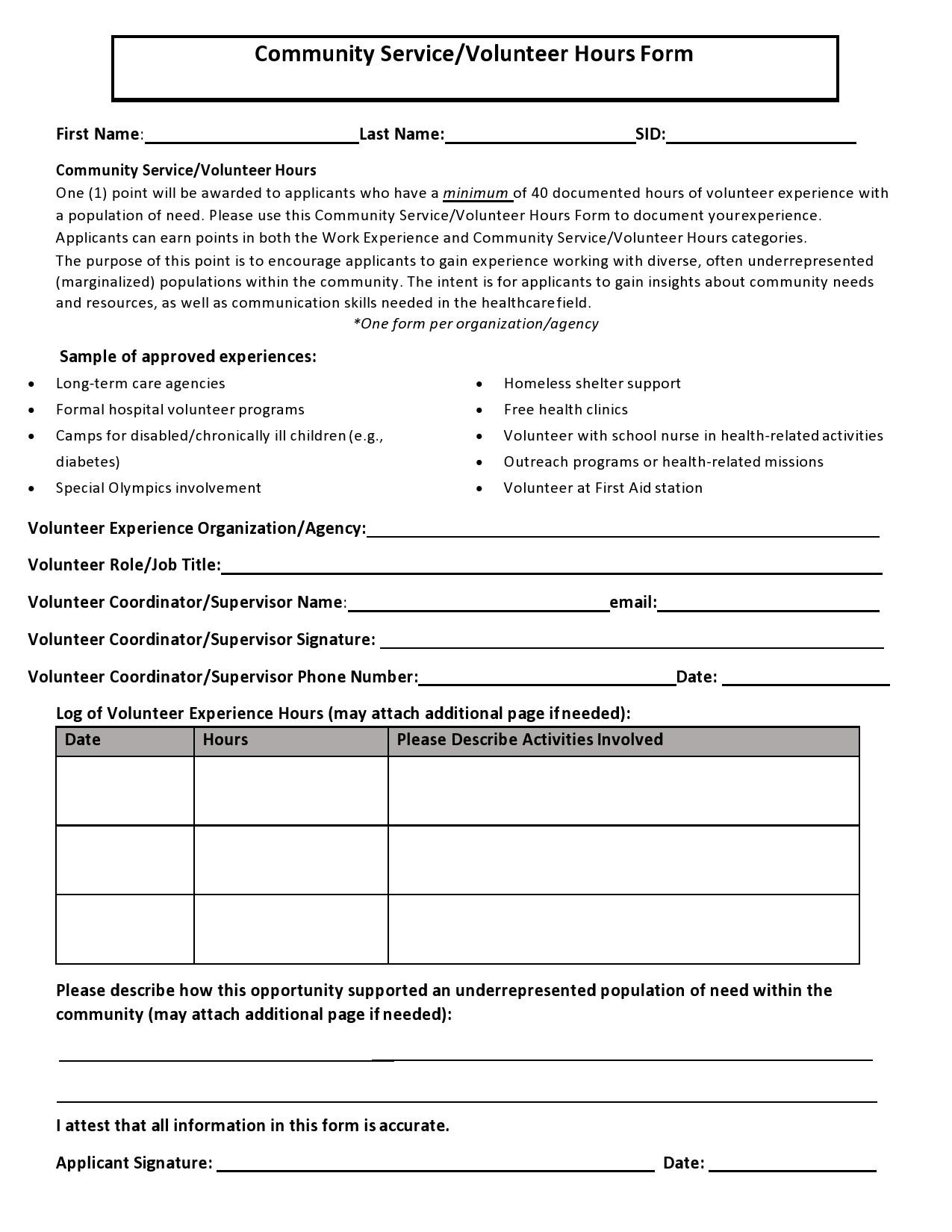 Free volunteer hours log 37