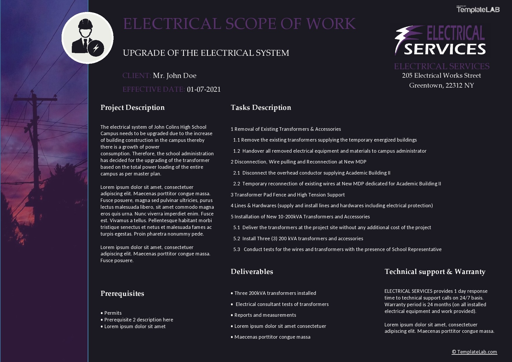 Free Electrical Scope of Work Template - TemplateLab.com