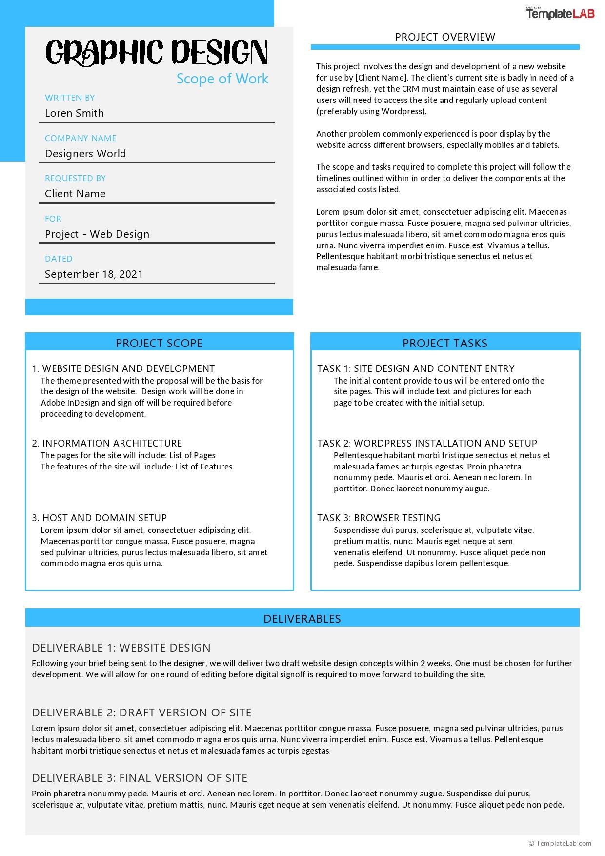 Free Graphic Design Scope of Work Template - TemplateLab.com