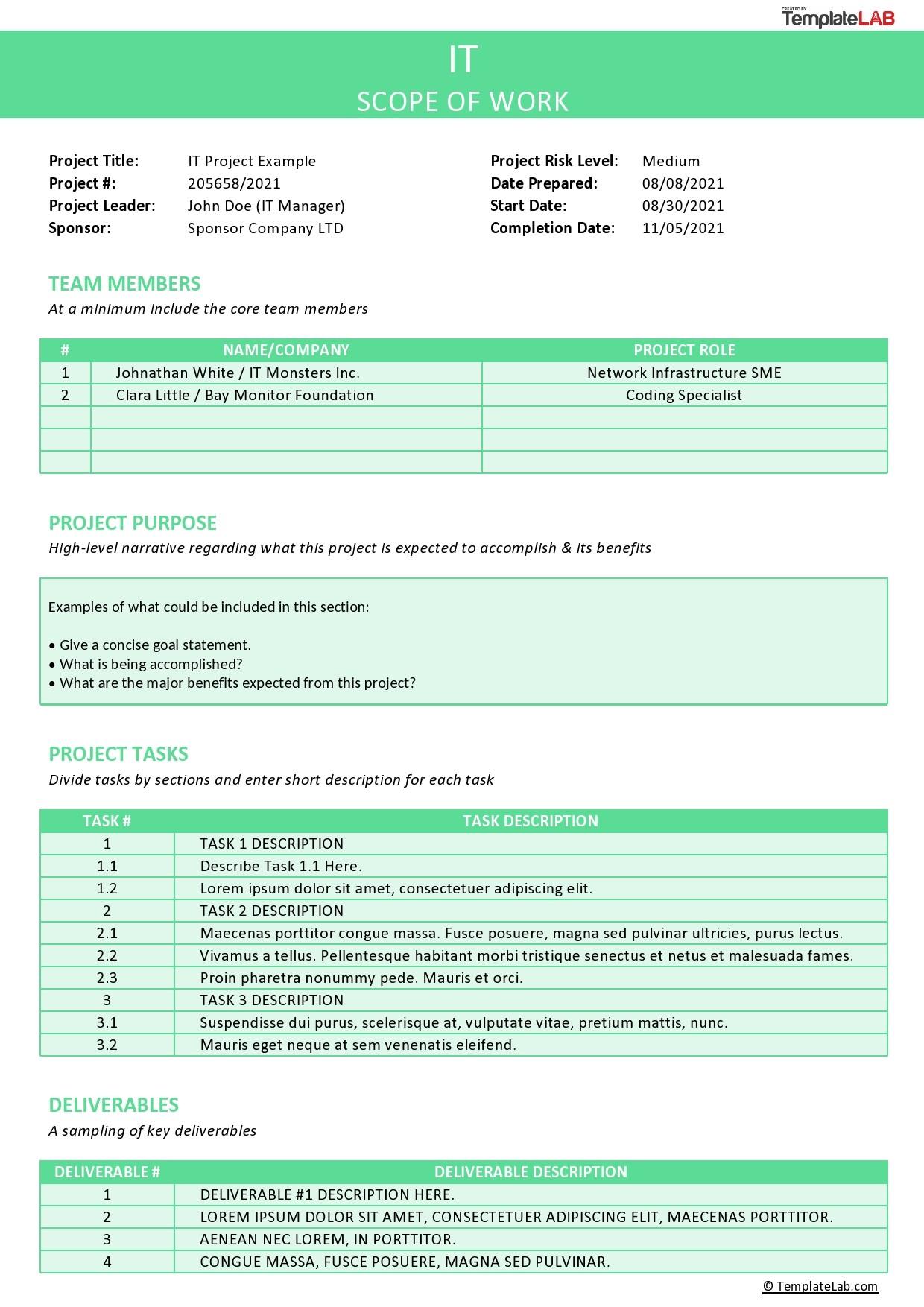 Free IT Scope of Work Template - TemplateLab.com