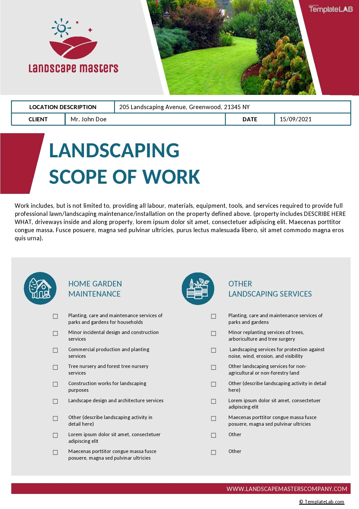 Free Landscaping Scope of Work Template - TemplateLab.com