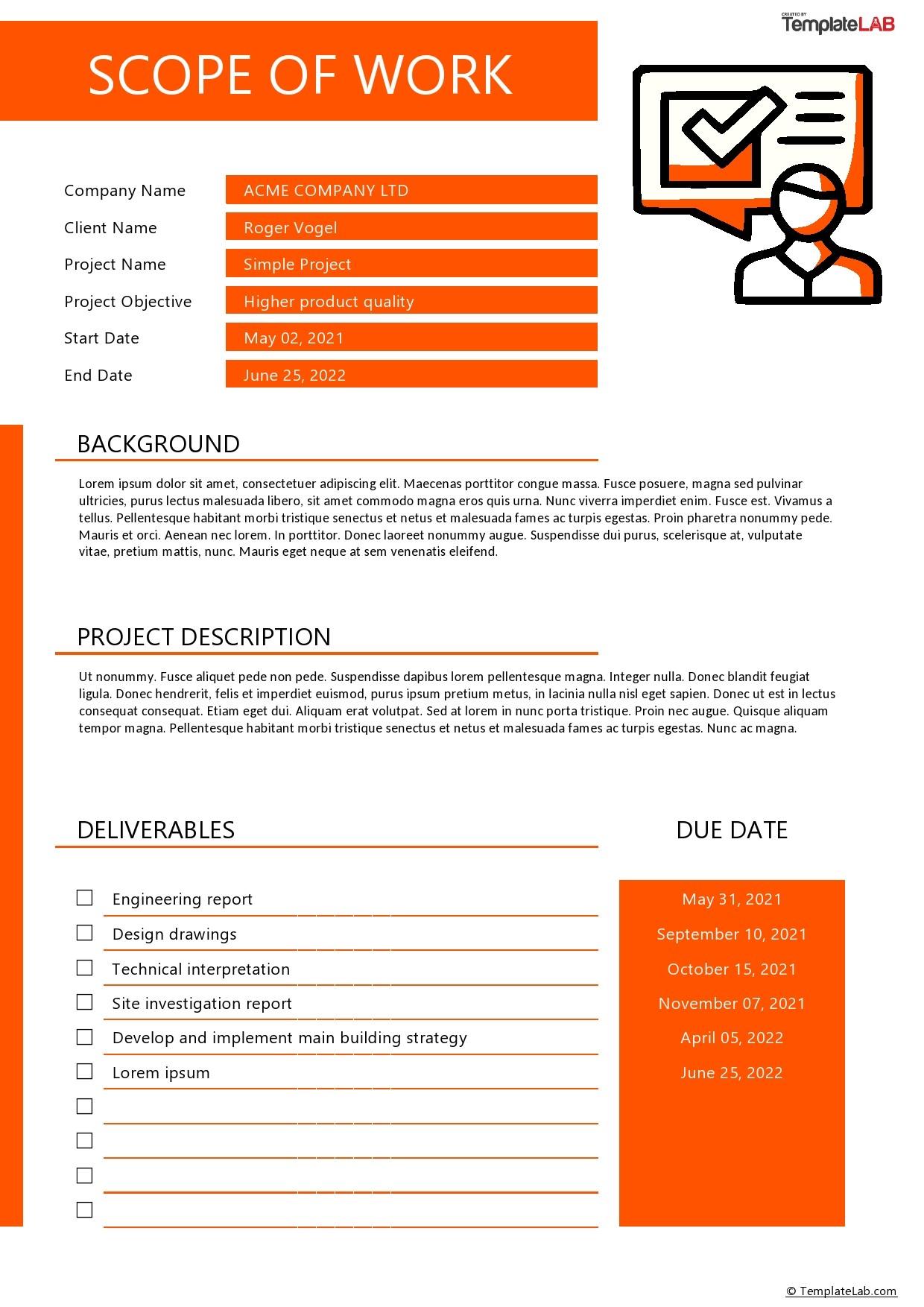 Free Simple Scope of Work Template - TemplateLab.com