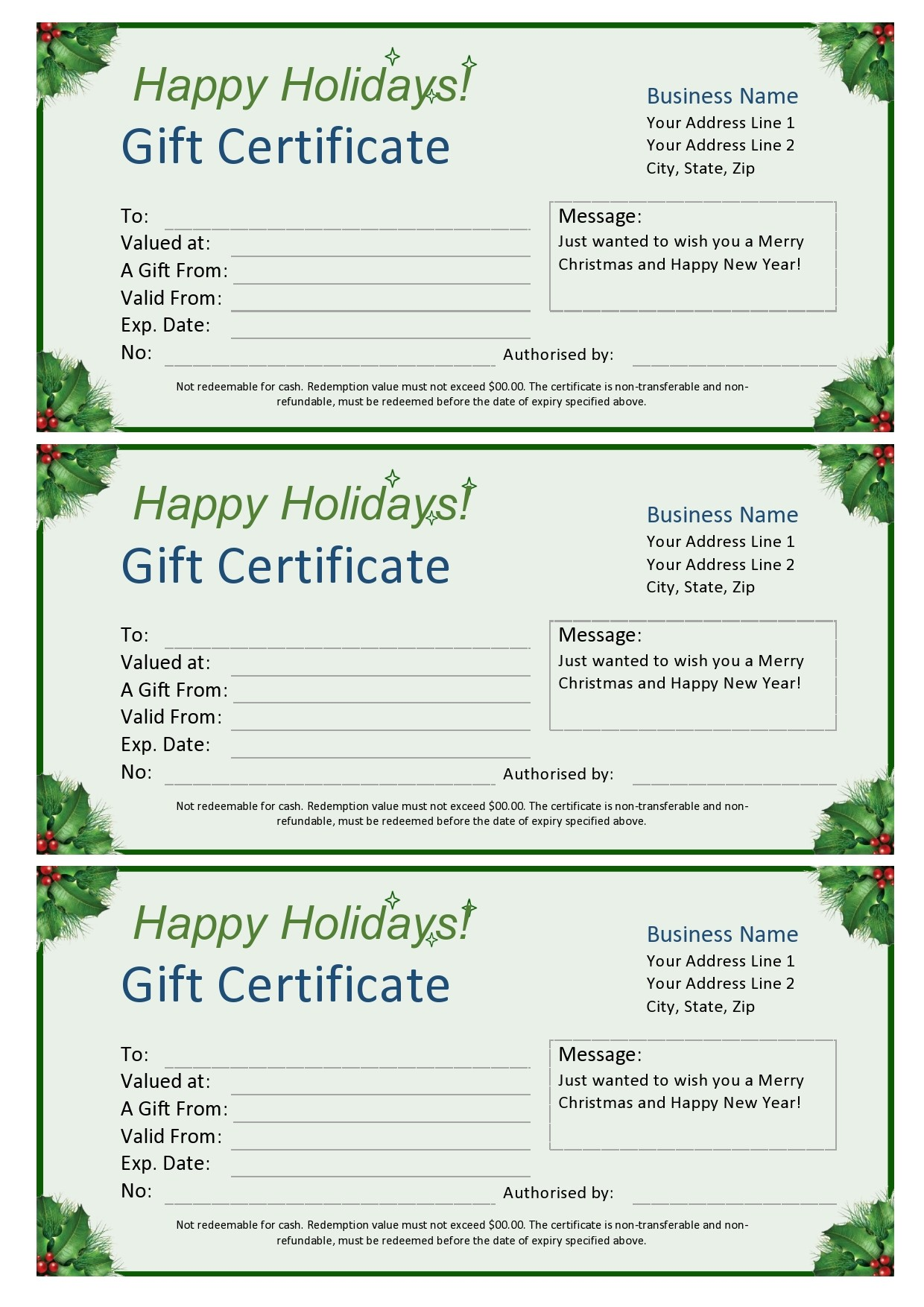Free christmas gift certificate template 03