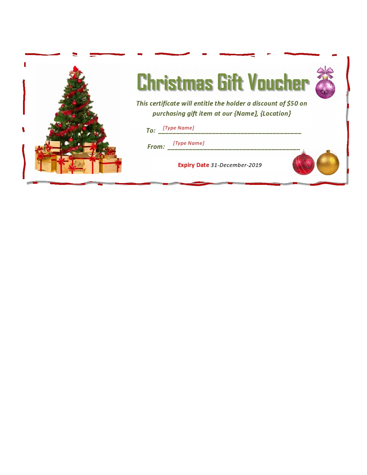 Free christmas gift certificate template 04