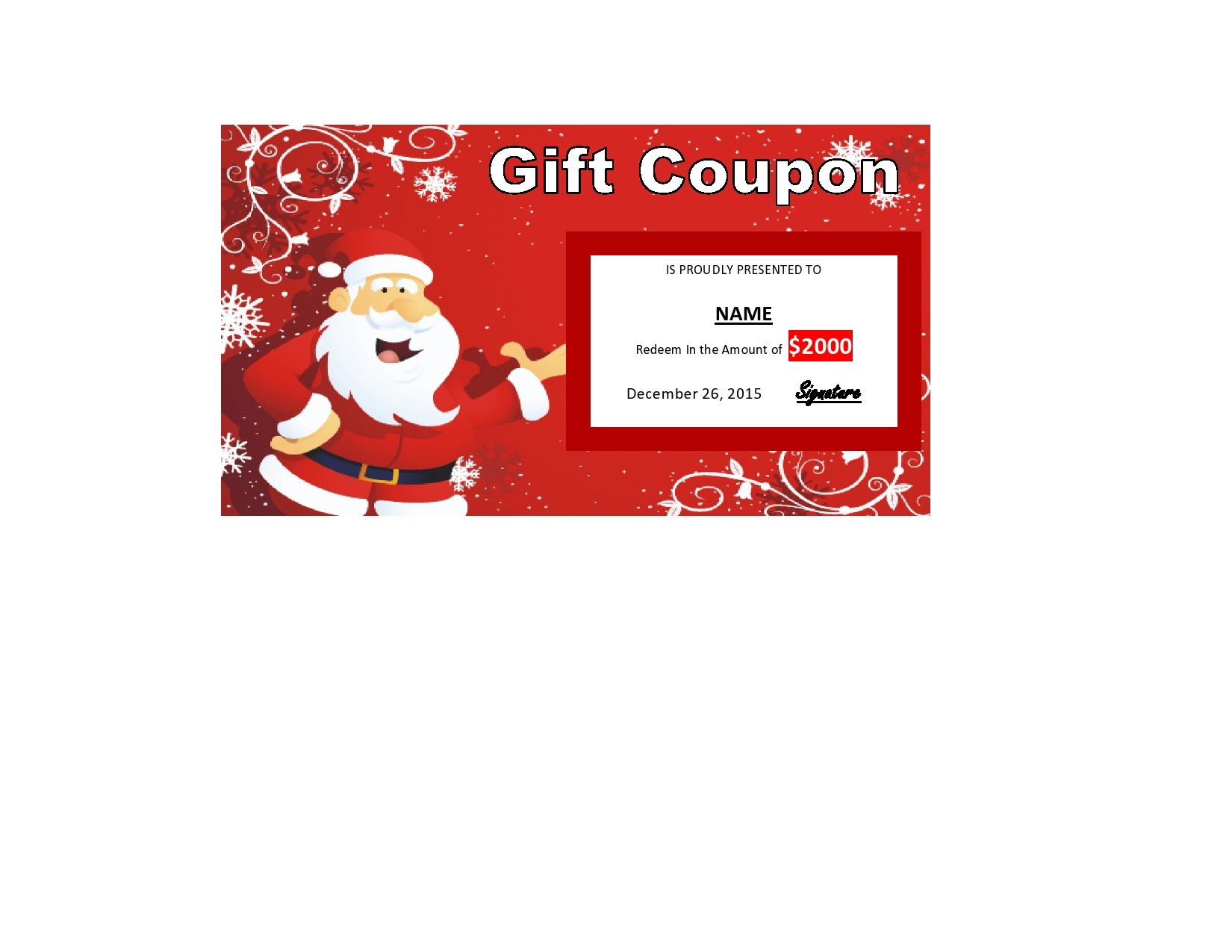 Free christmas gift certificate template 09