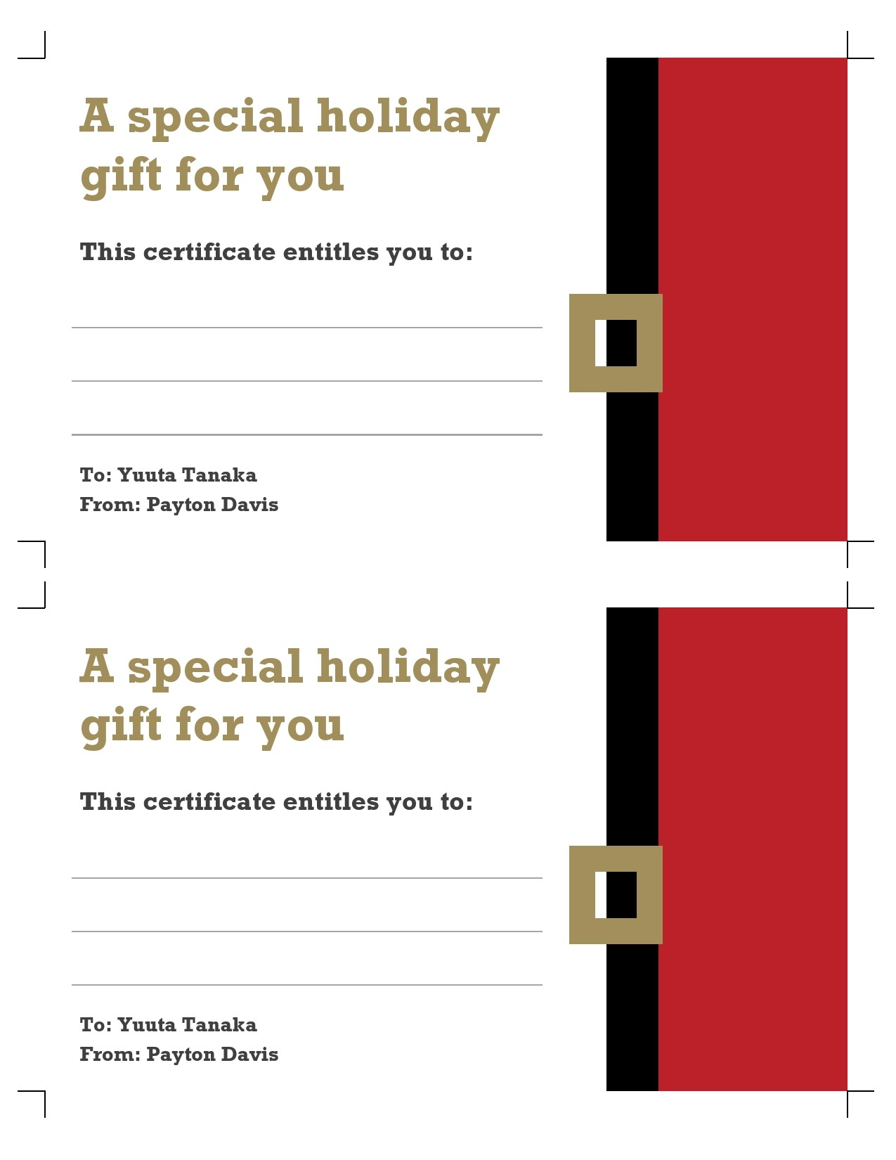 Free christmas gift certificate template 34