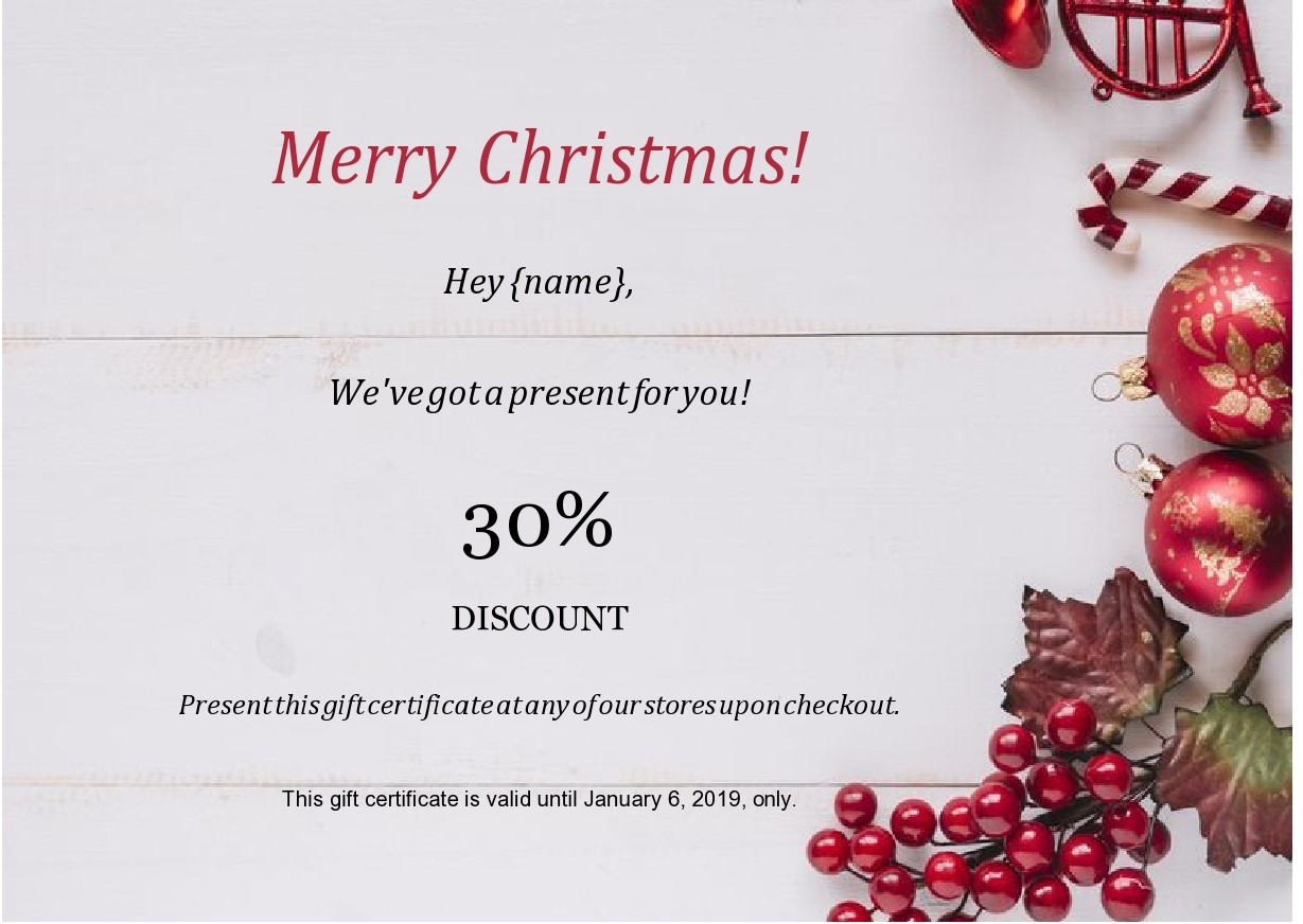 Free christmas gift certificate template 39