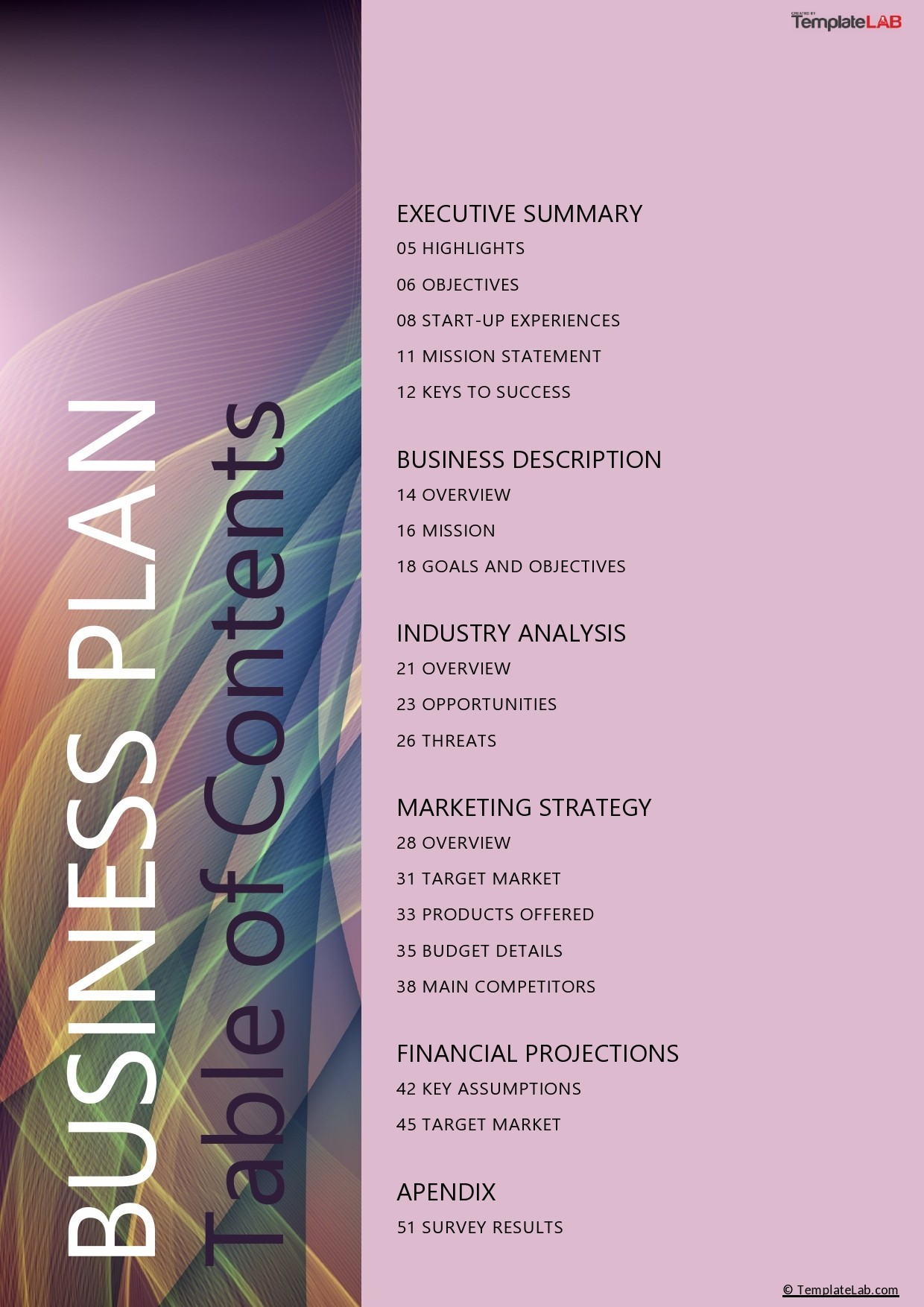 Free Business Plan Table of Contents - TemplateLab.com