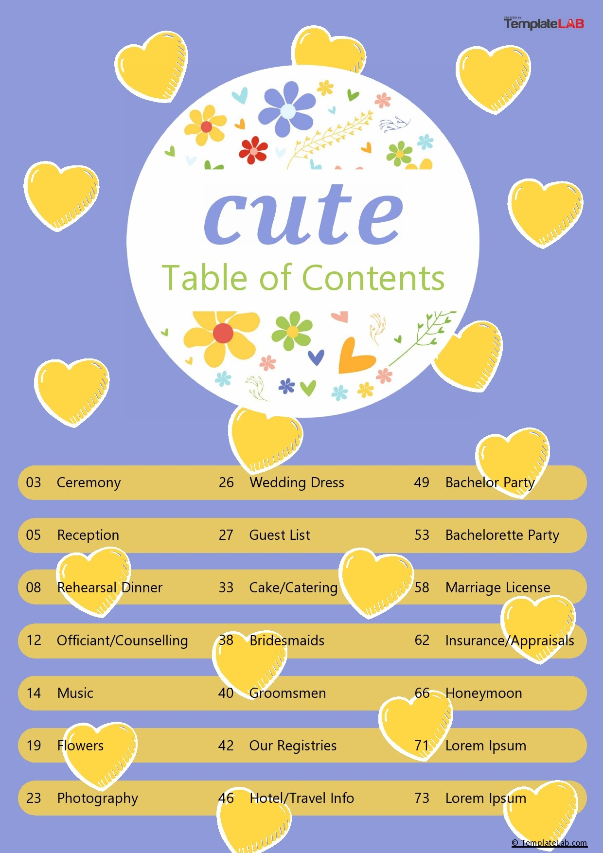 Free Cute Table of Content - TemplateLab.com