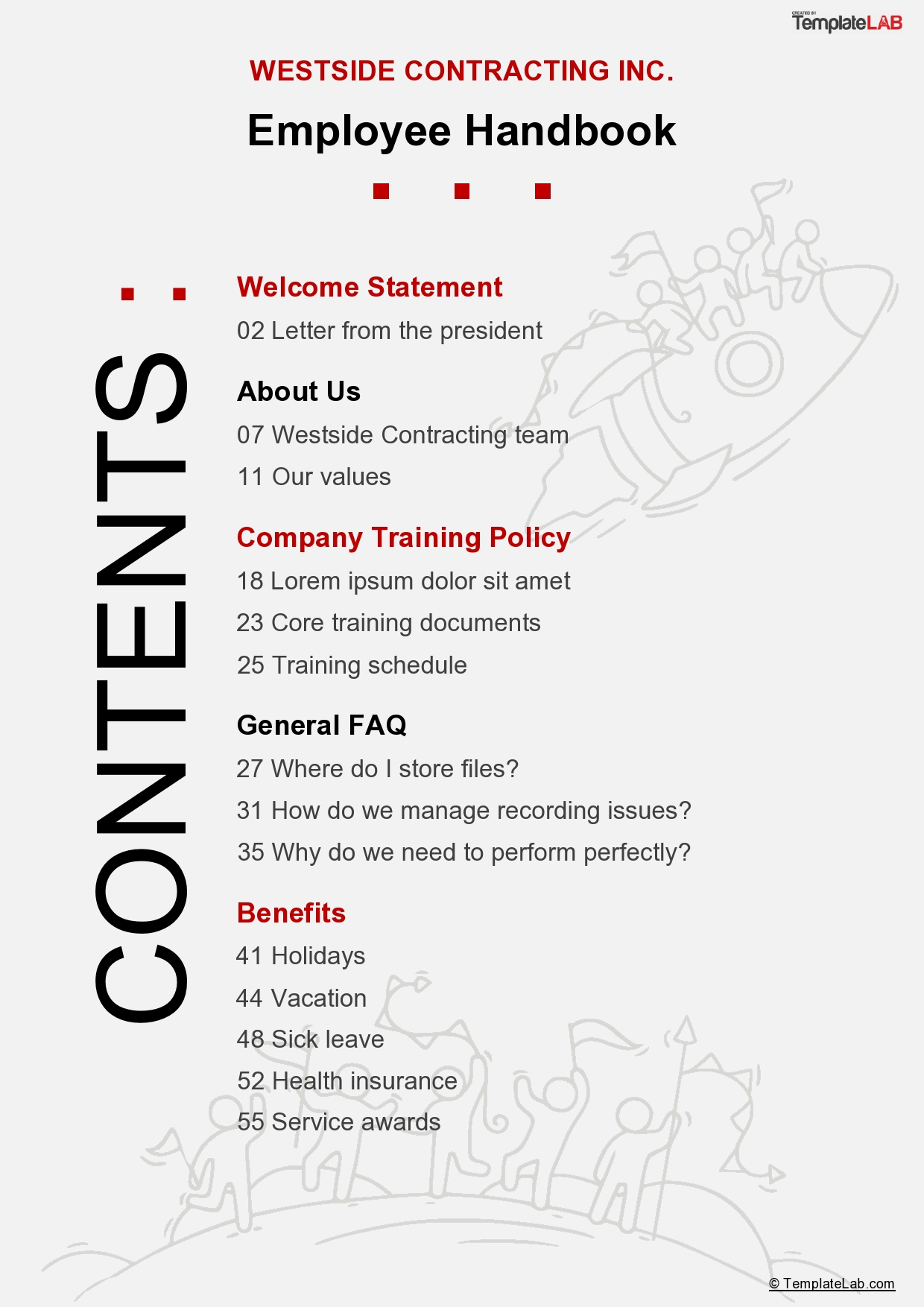 Free Employee Handbook Table of Contents - TemplateLab.com