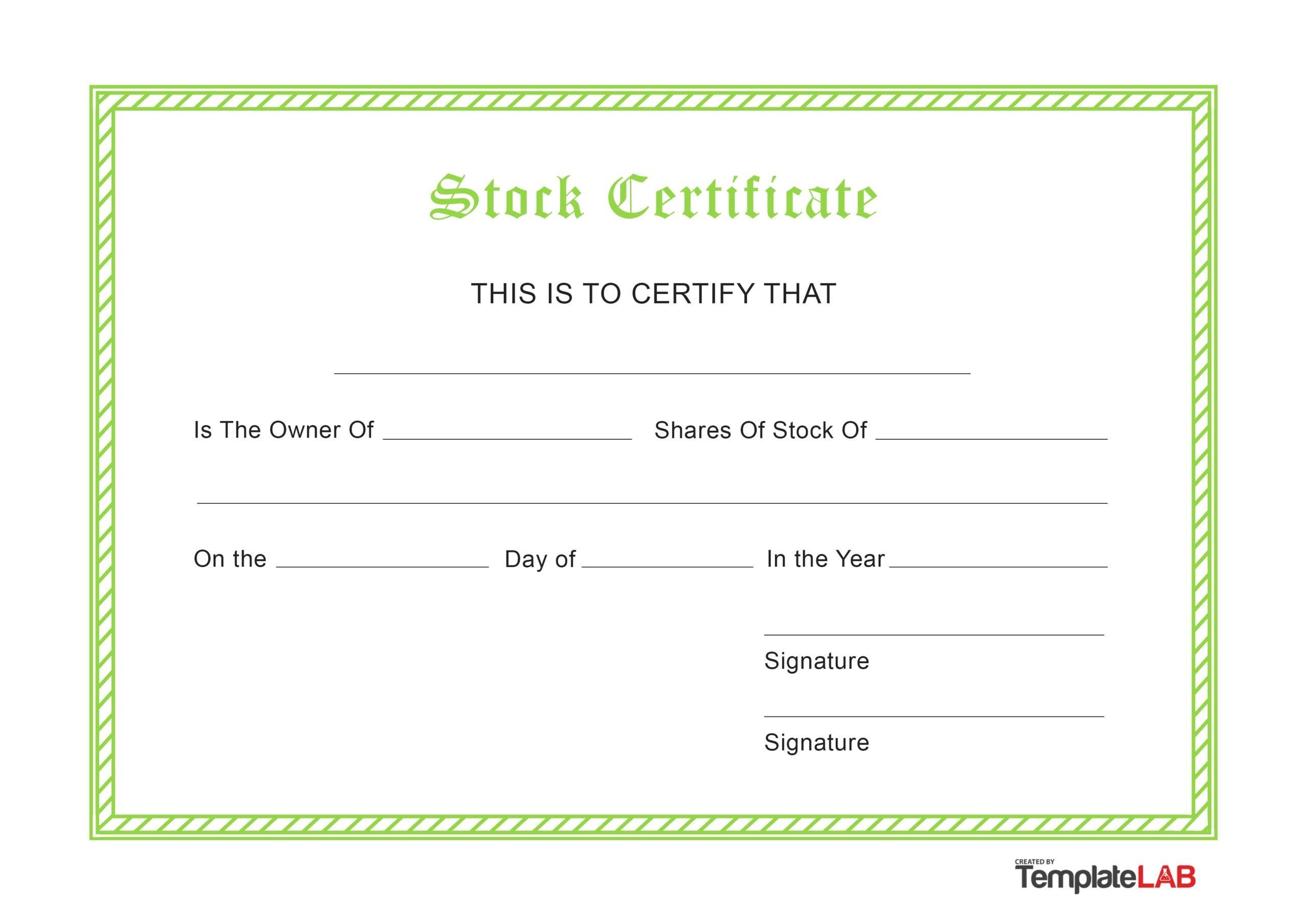 Free Stock Certificate v1
