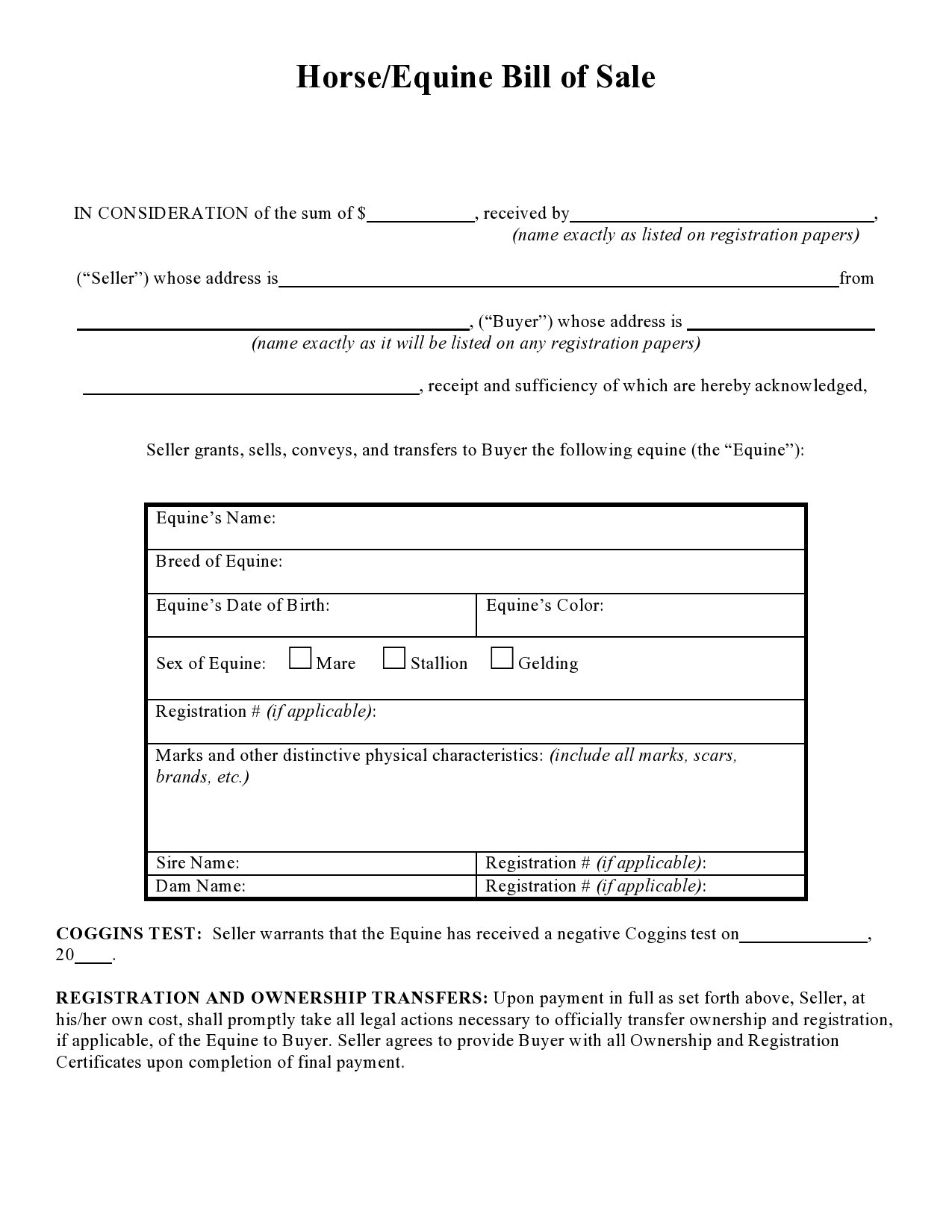 Free horse bill of sale 06