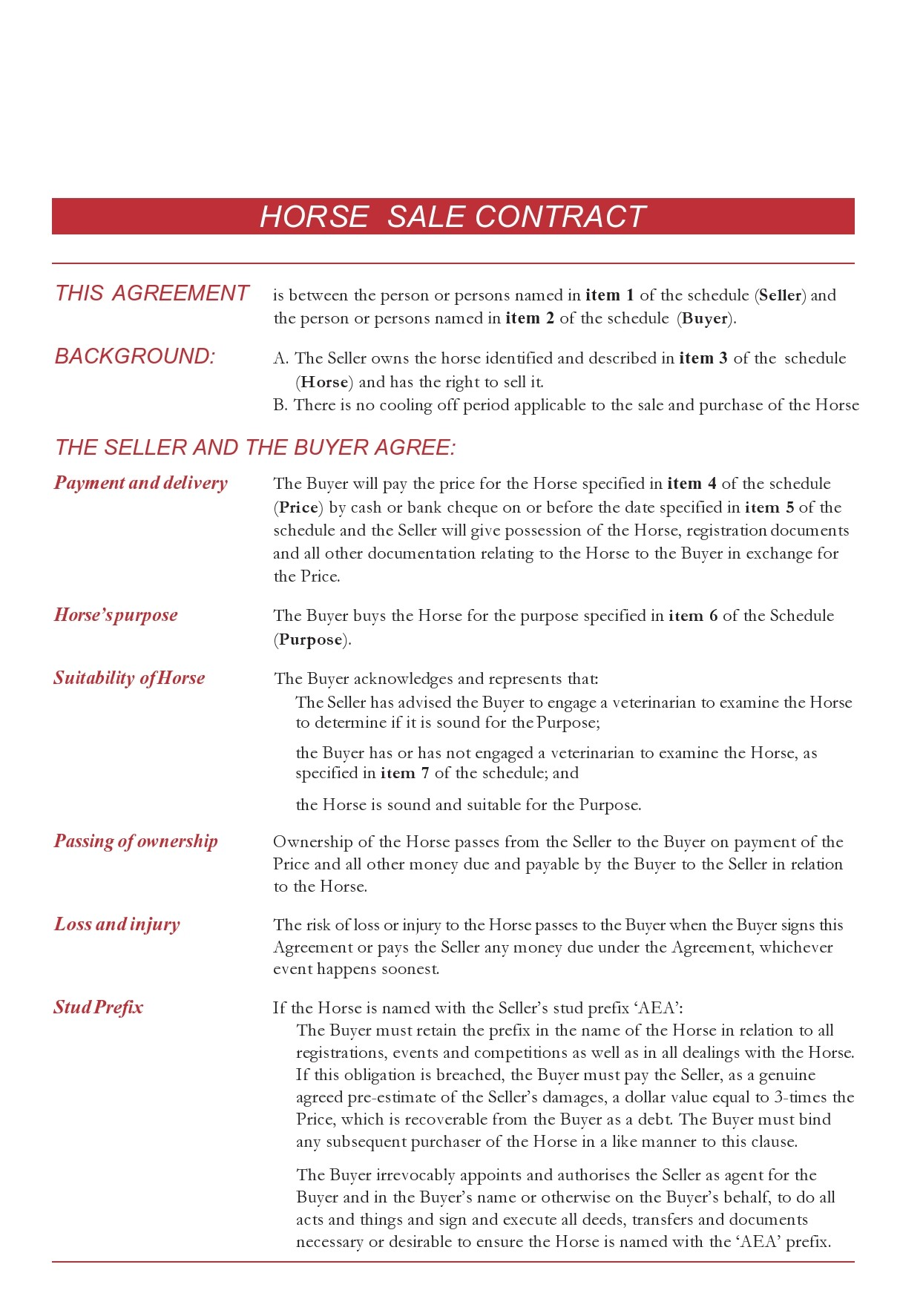 Free horse bill of sale 11