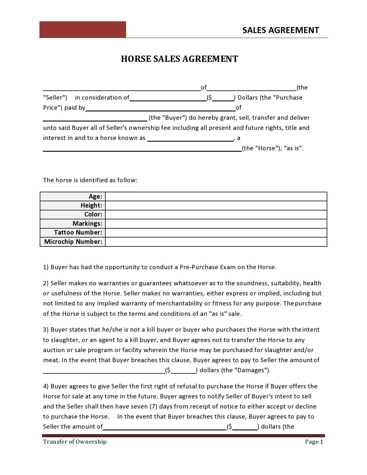 Free horse bill of sale 23