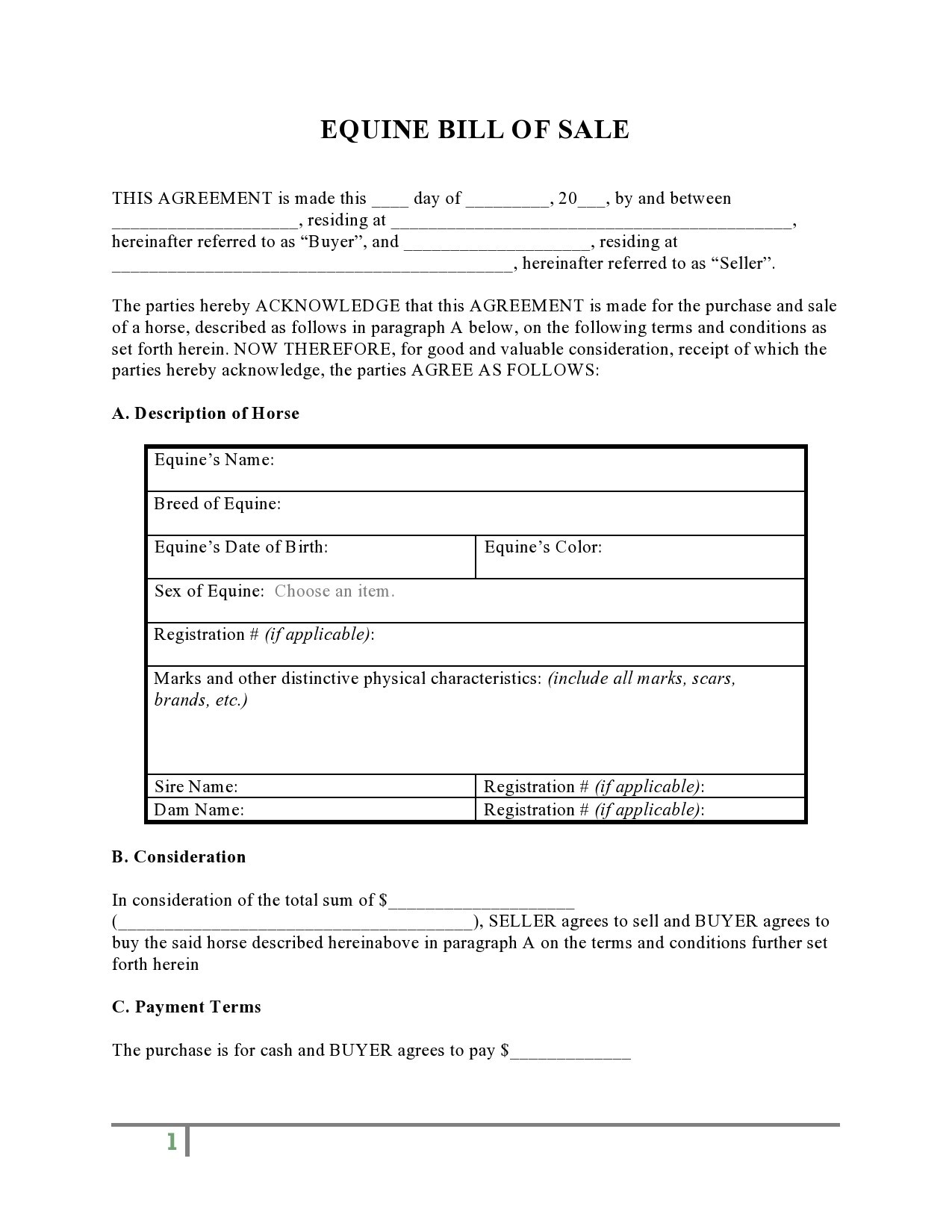 Free horse bill of sale 24