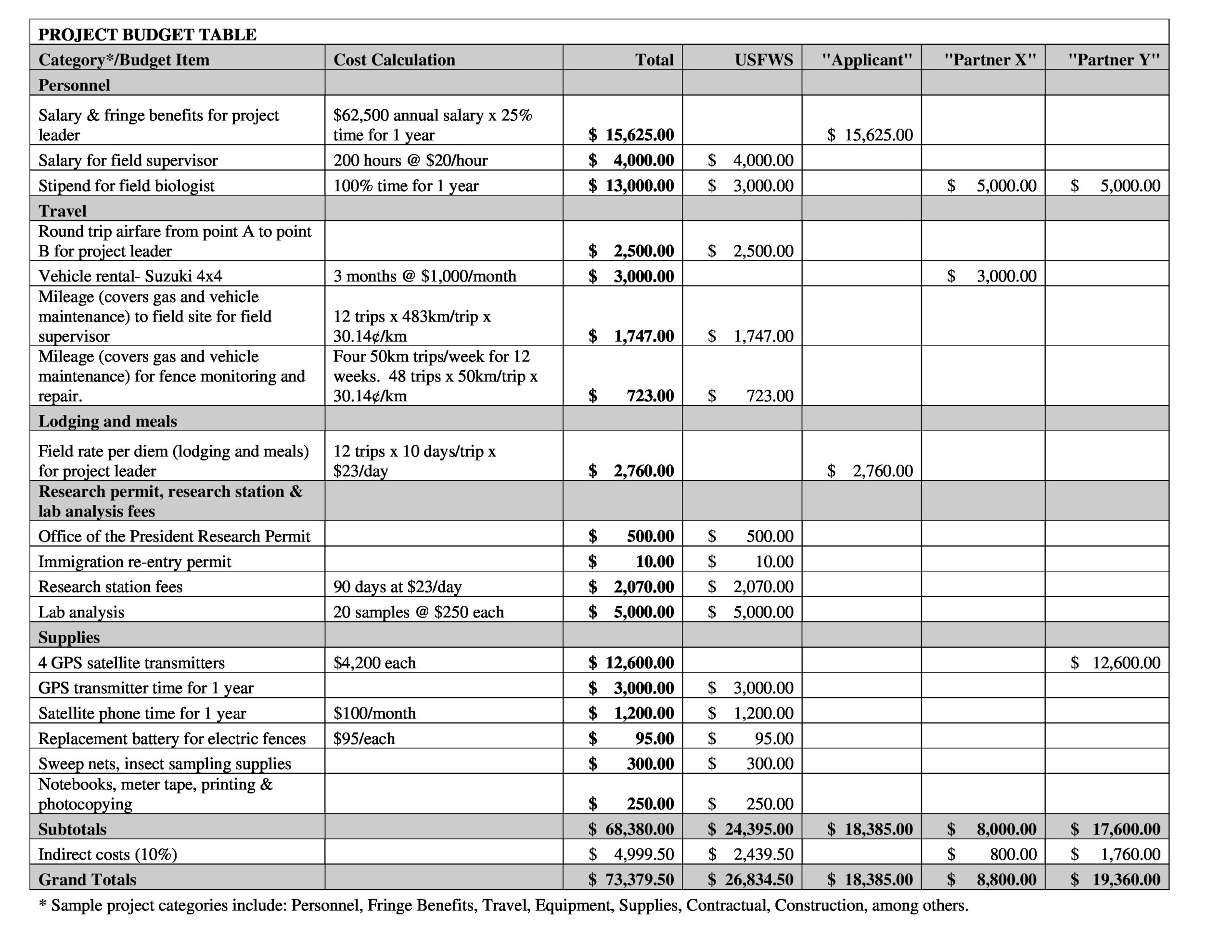 Free project budget template 11