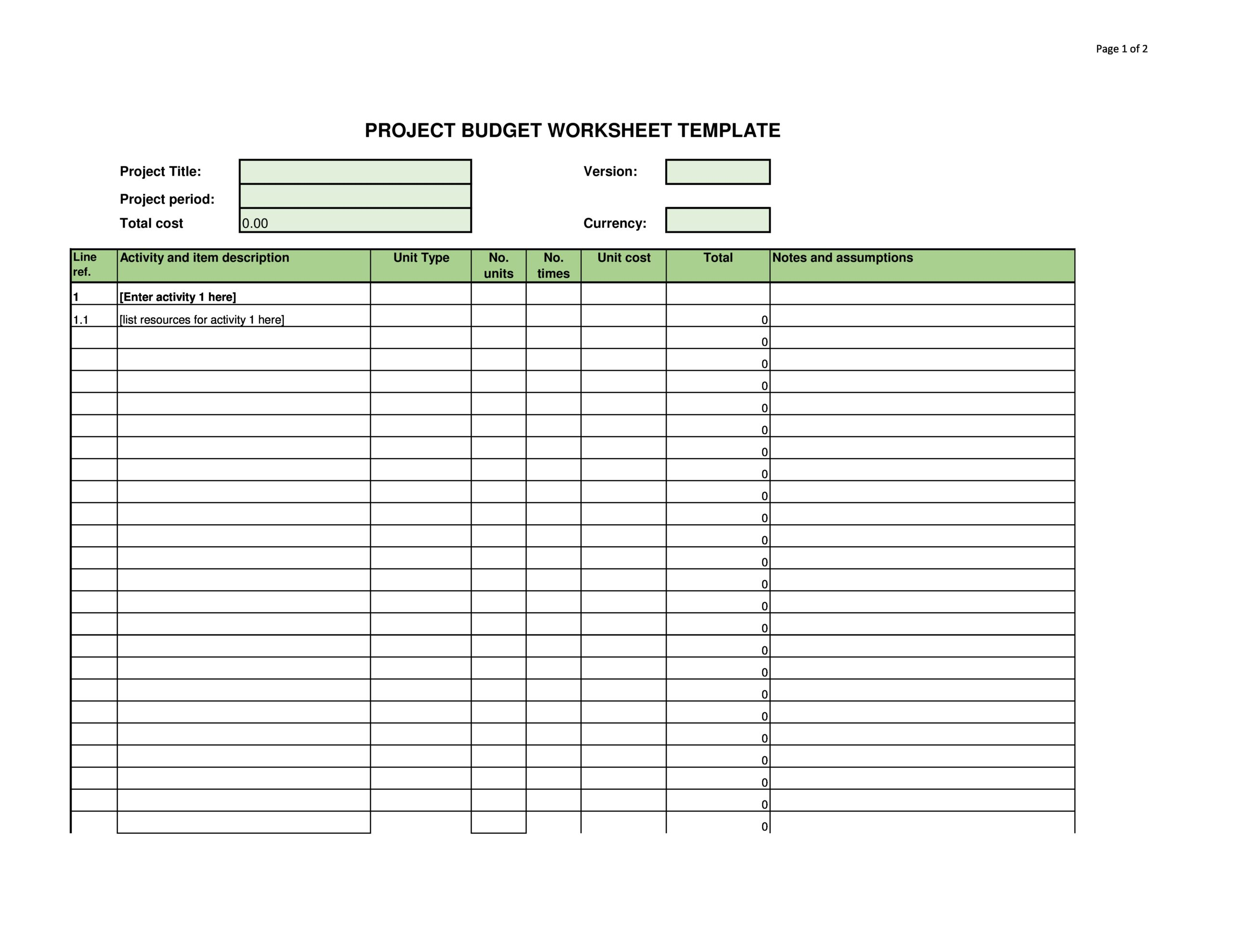Free project budget template 17