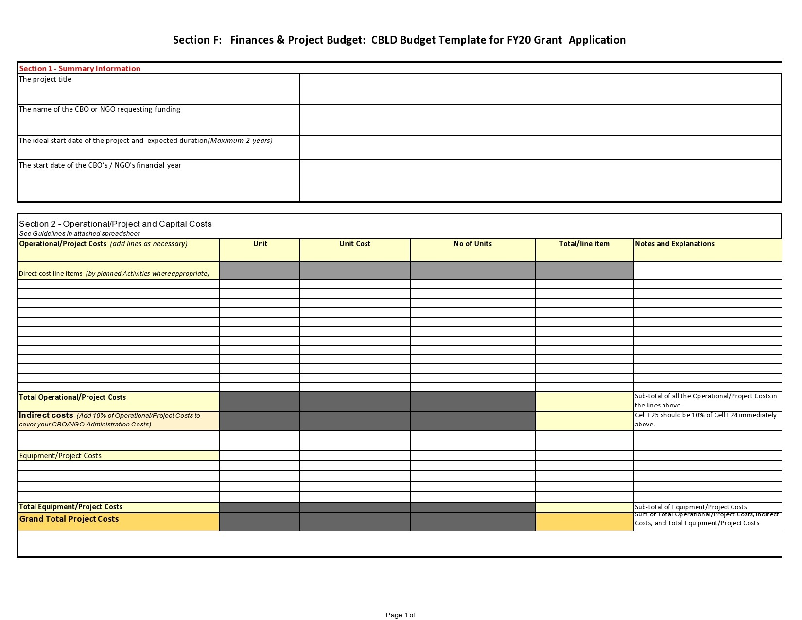Free project budget template 18