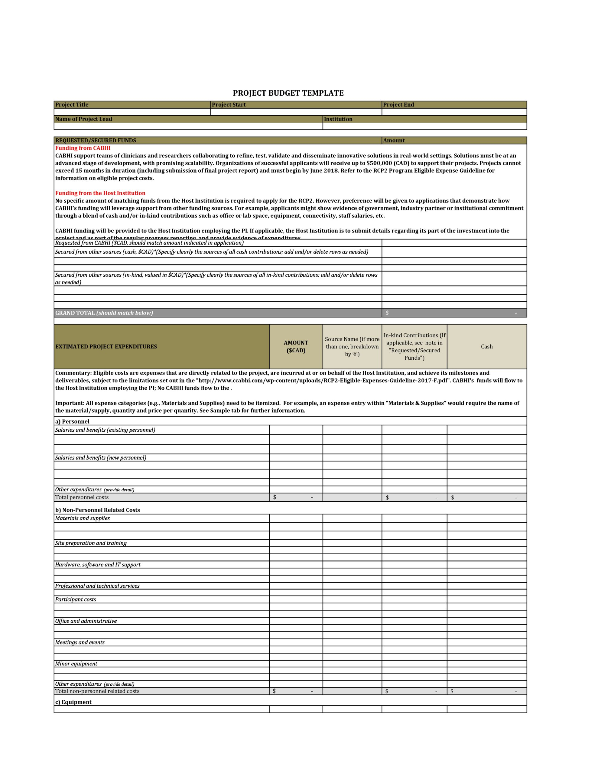 Free project budget template 22