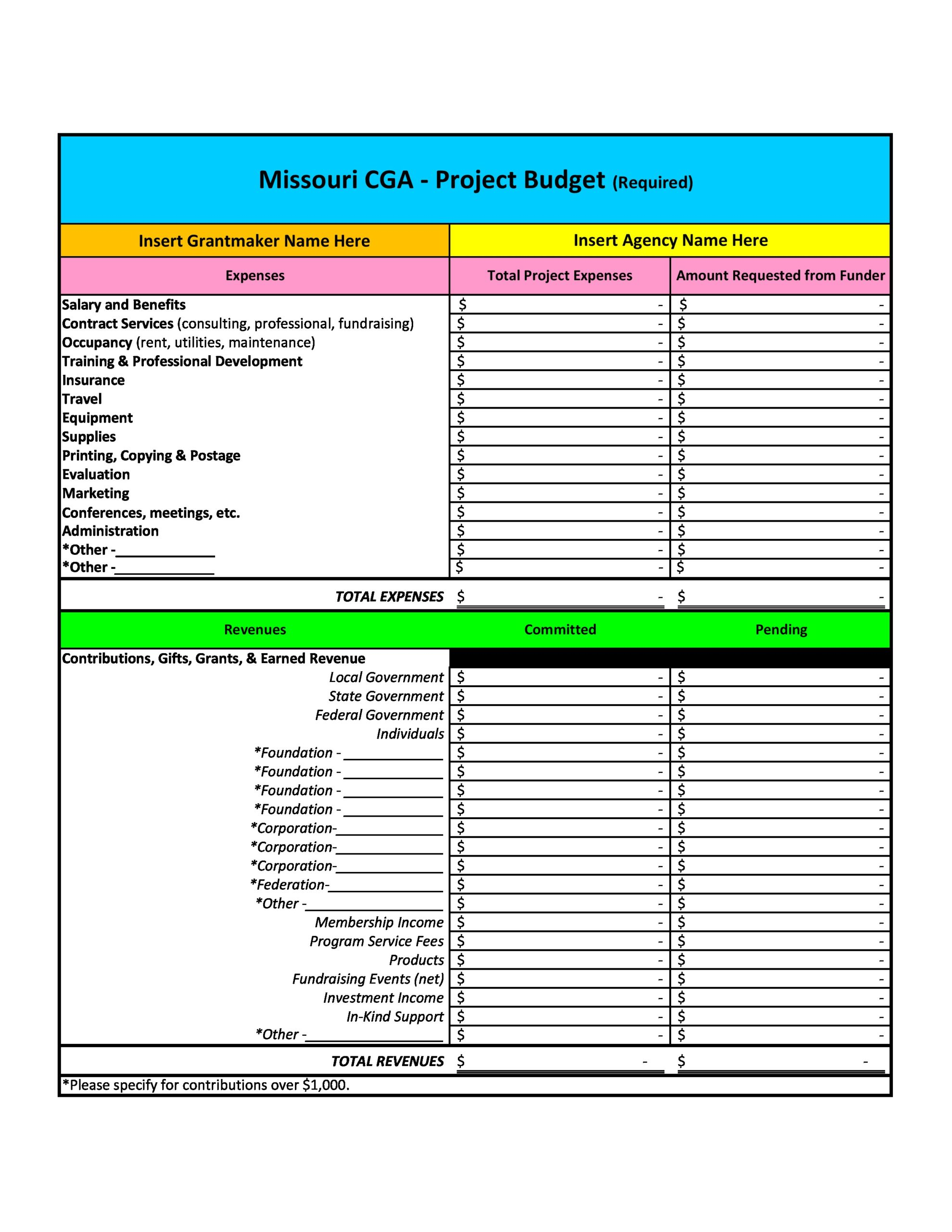 Free project budget template 28