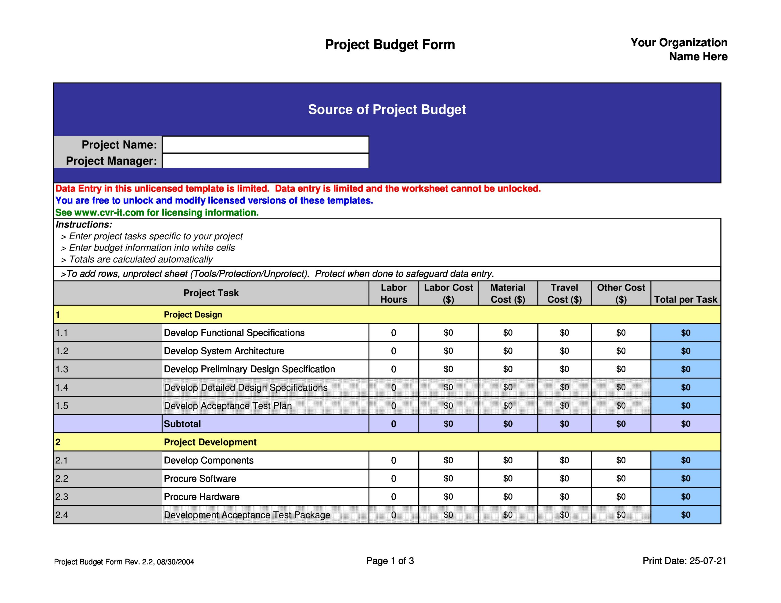 Free project budget template 35