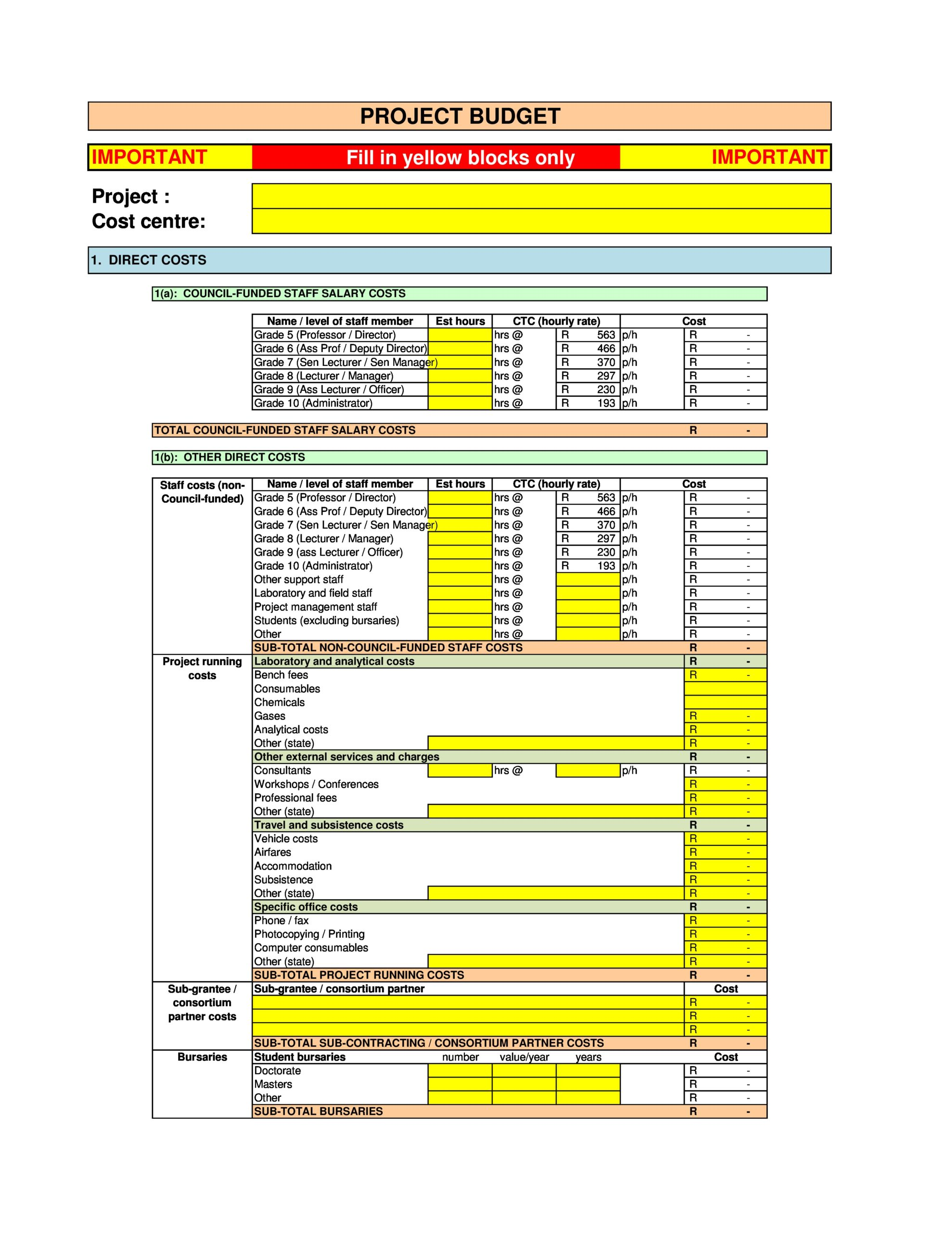 Free project budget template 36