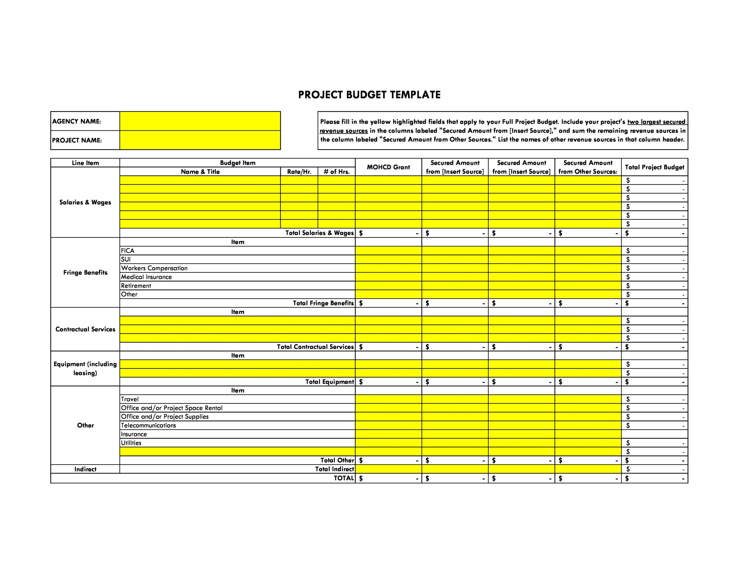 Free project budget template 38