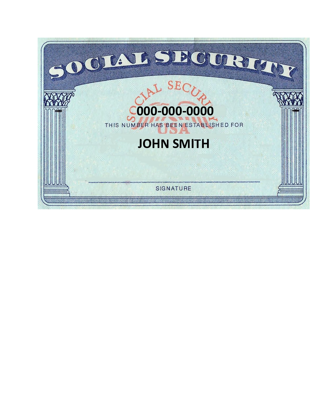 Free social security card template 01