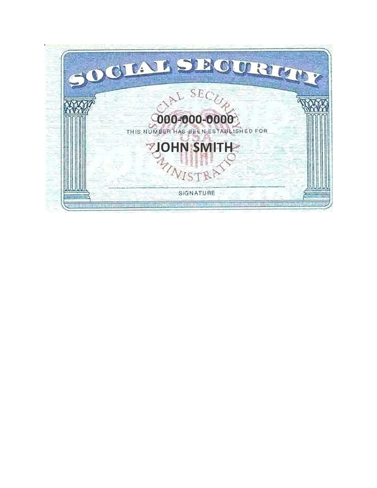 Free social security card template 03