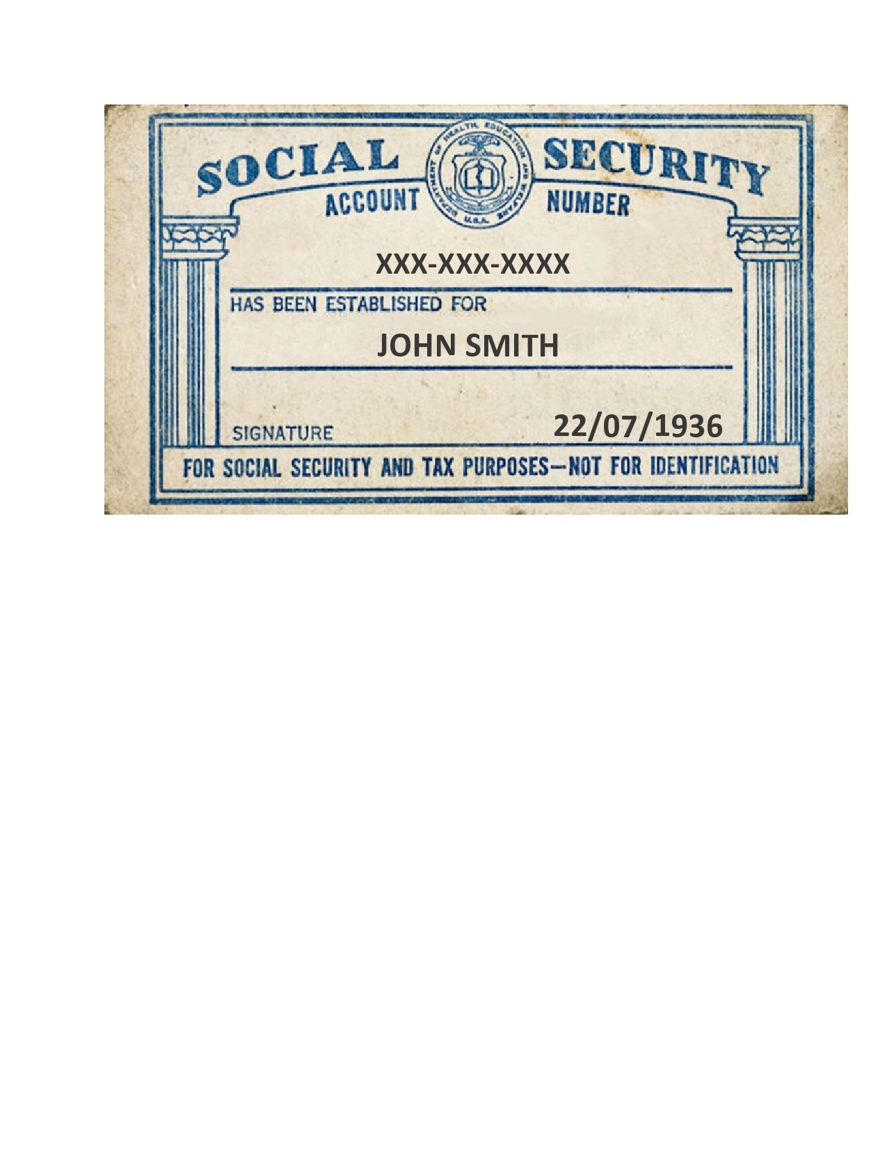 Free social security card template 04