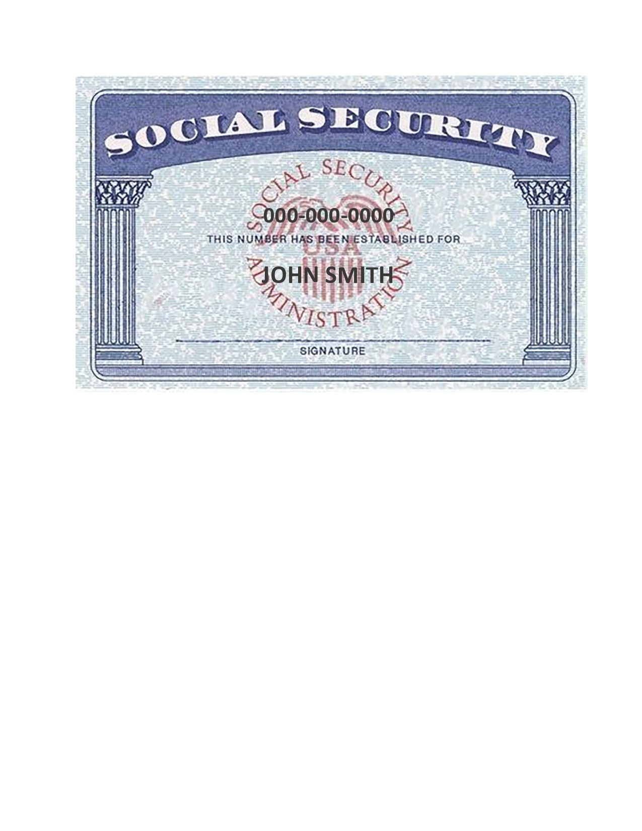 Free social security card template 05