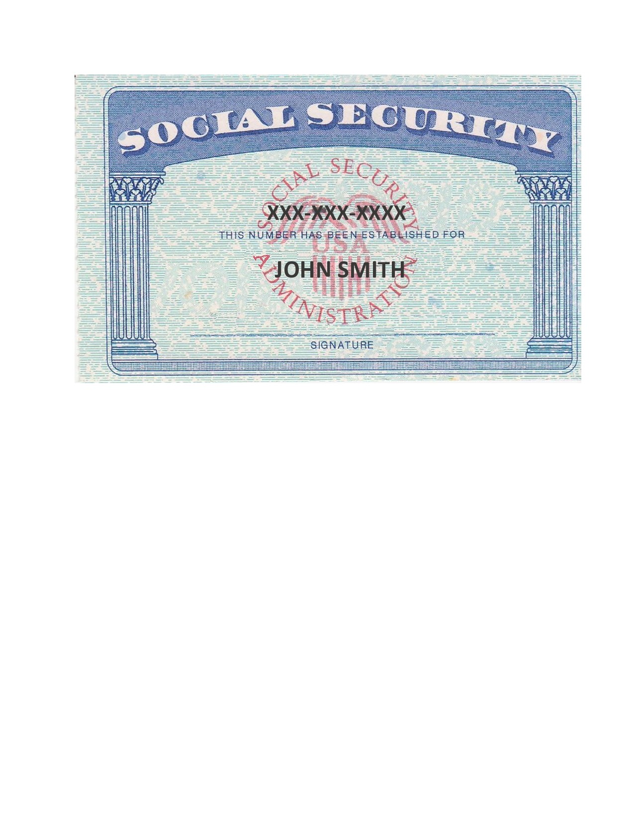 Free social security card template 07