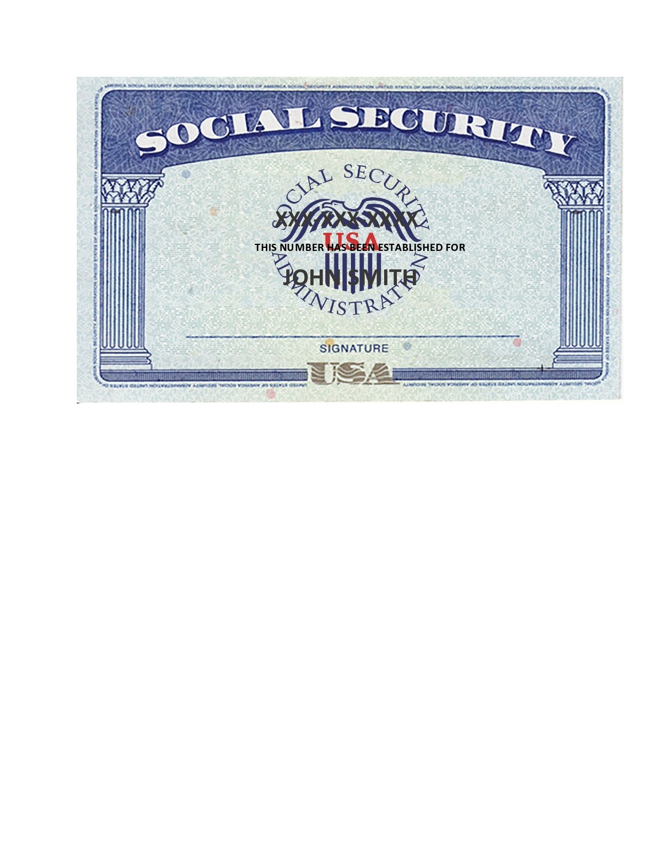 Free social security card template 08