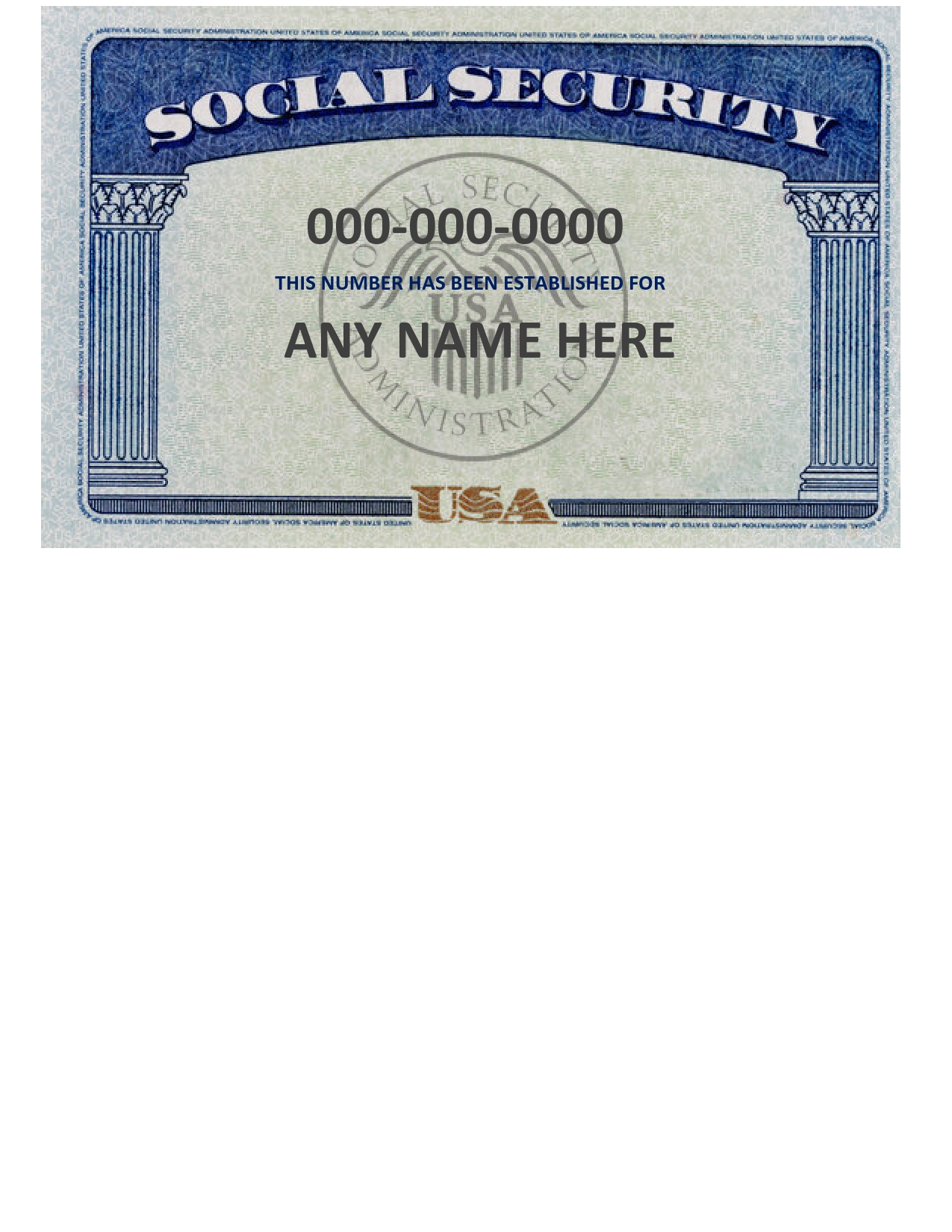 Free social security card template 11
