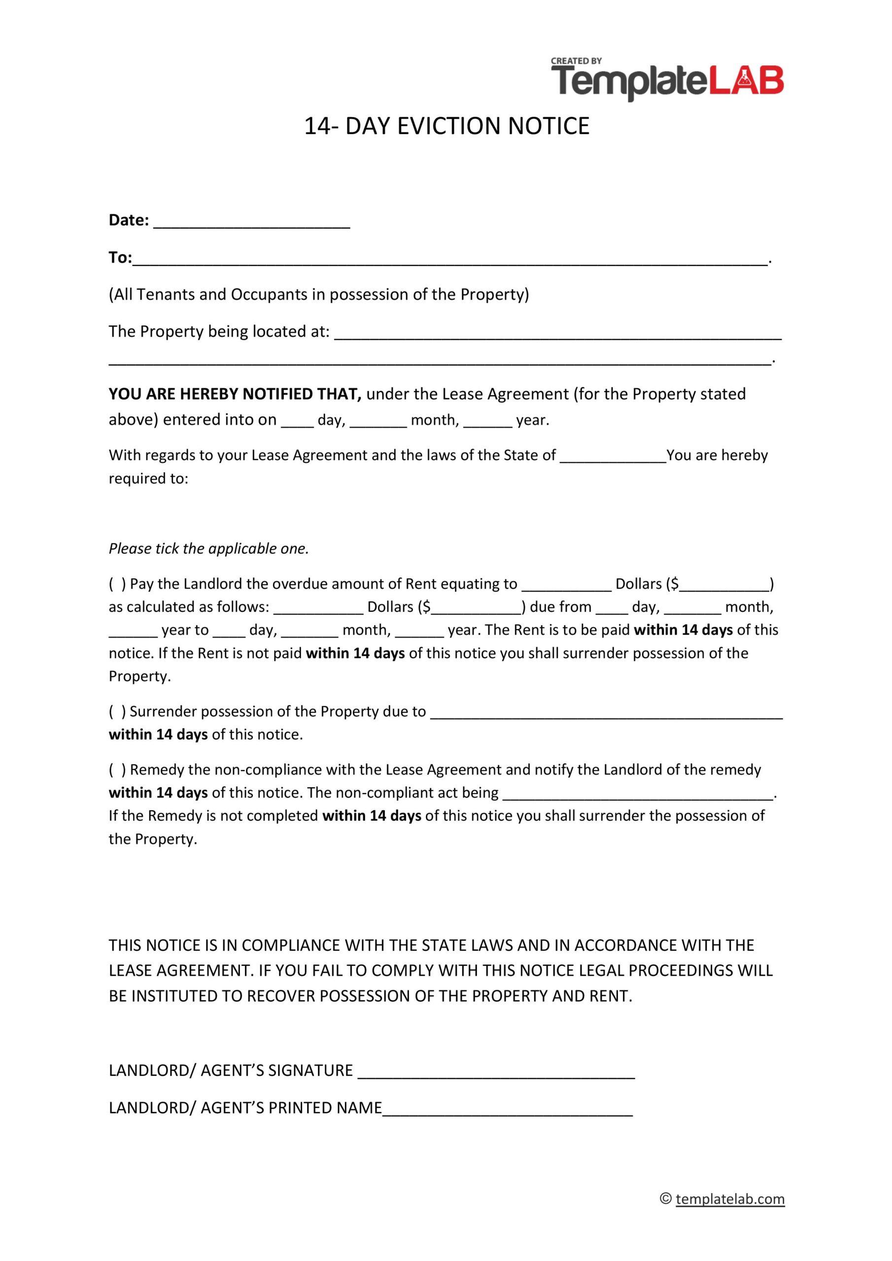 Free 14 Days Eviction Notice Template