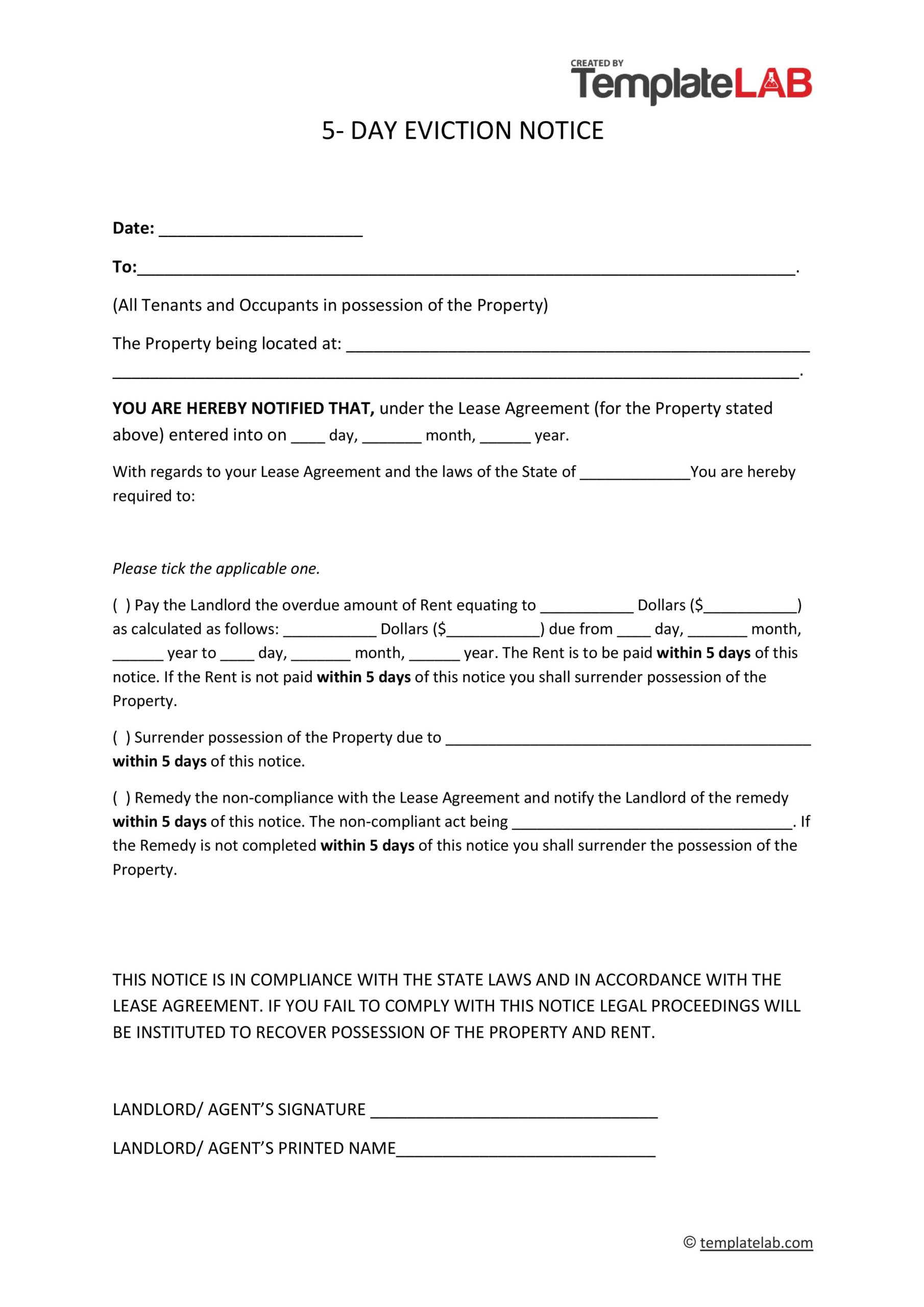 Free 5 Days Eviction Notice Template