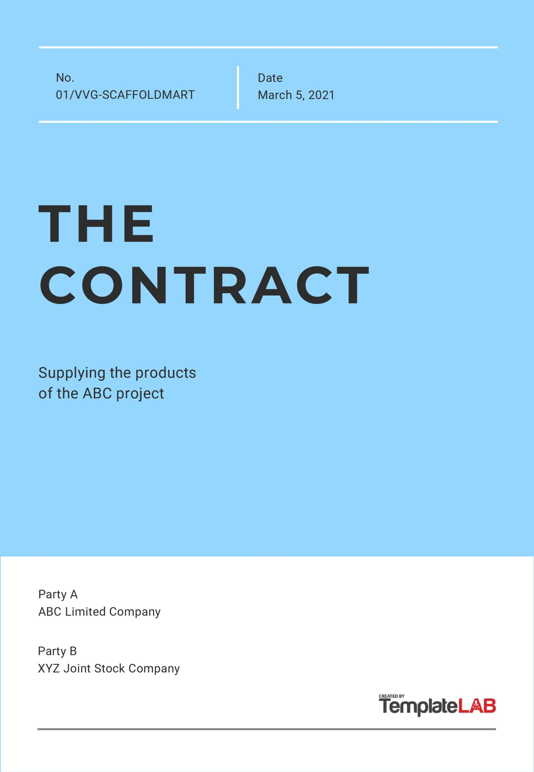Free Contract Cover Page