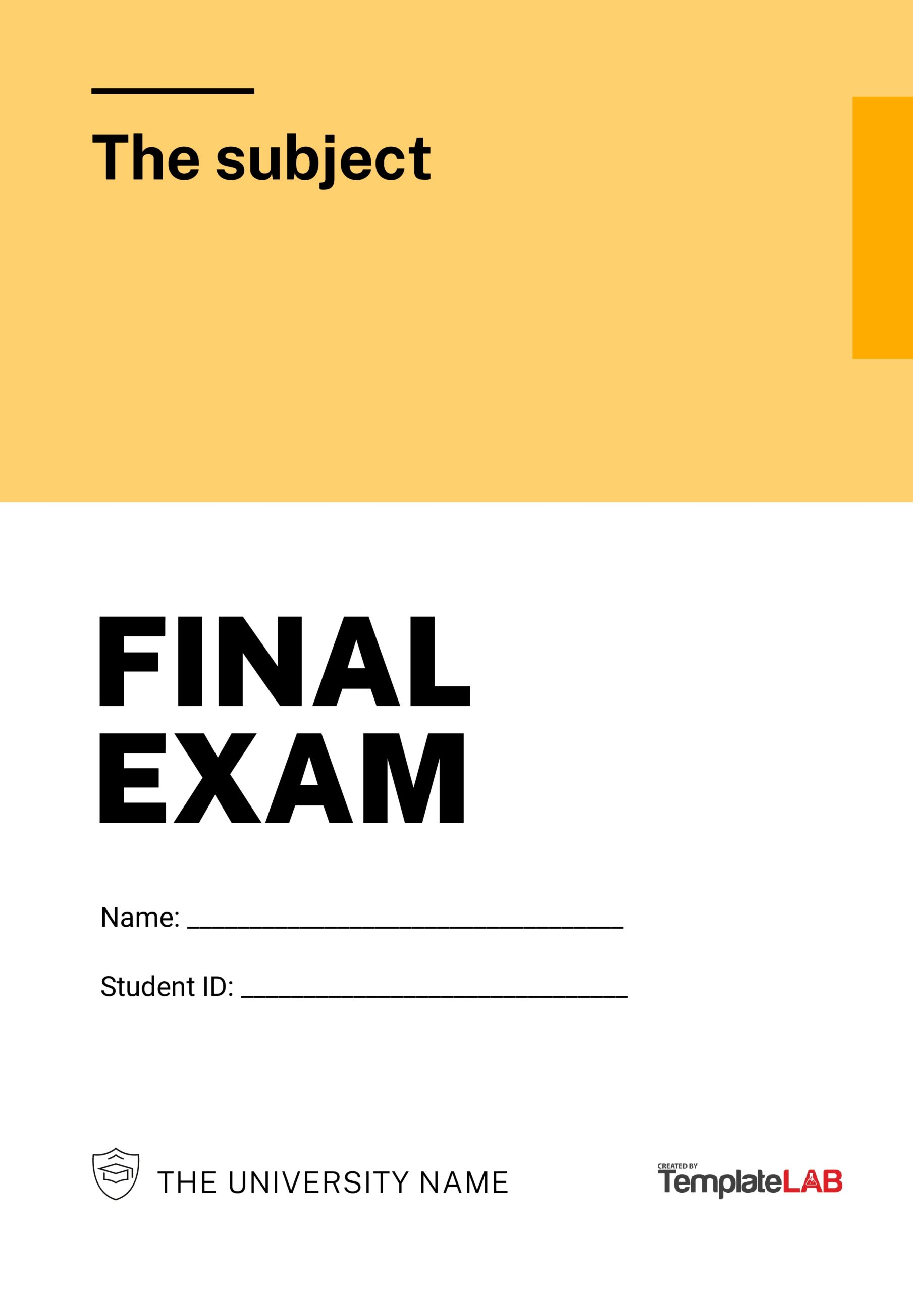 Free Final Exam Cover Page Template