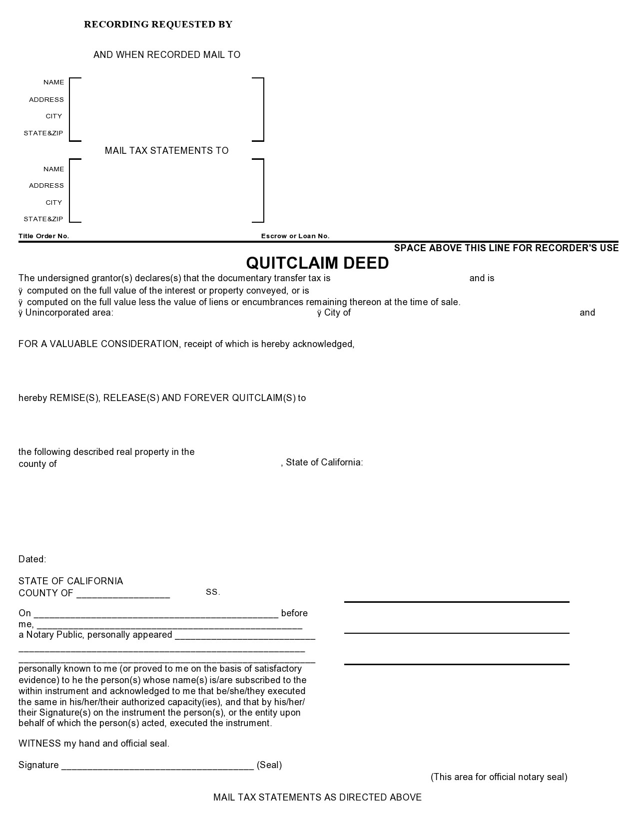 Free quit claim deed form 01