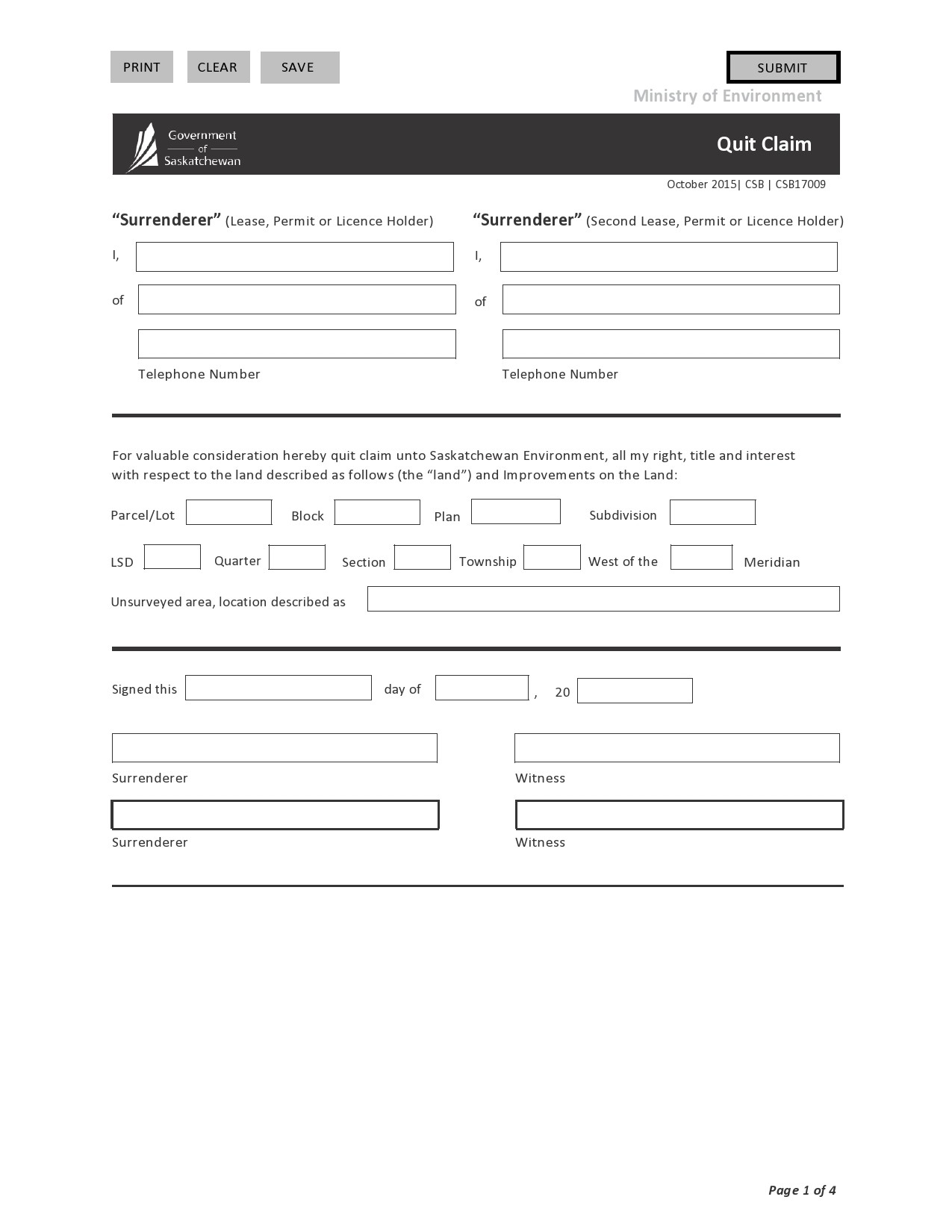 Free quit claim deed form 03