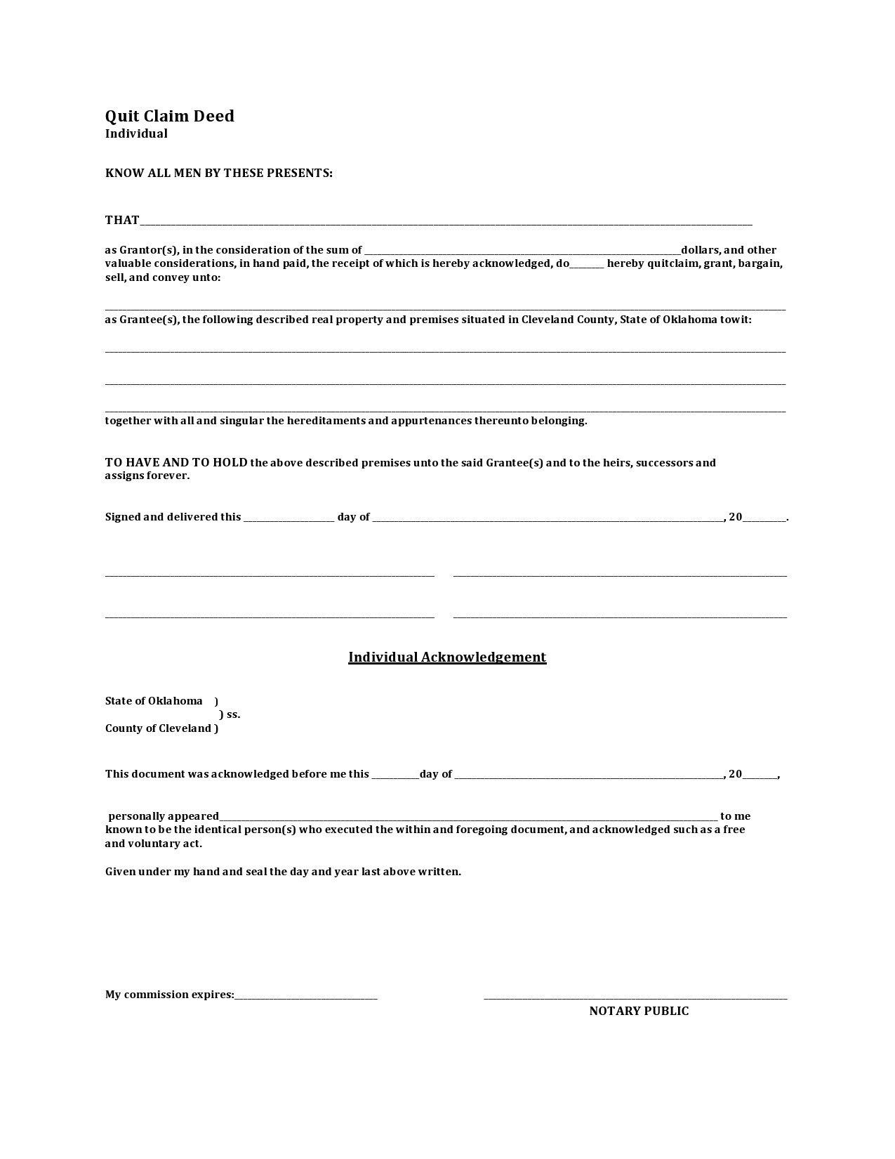 Free quit claim deed form 04