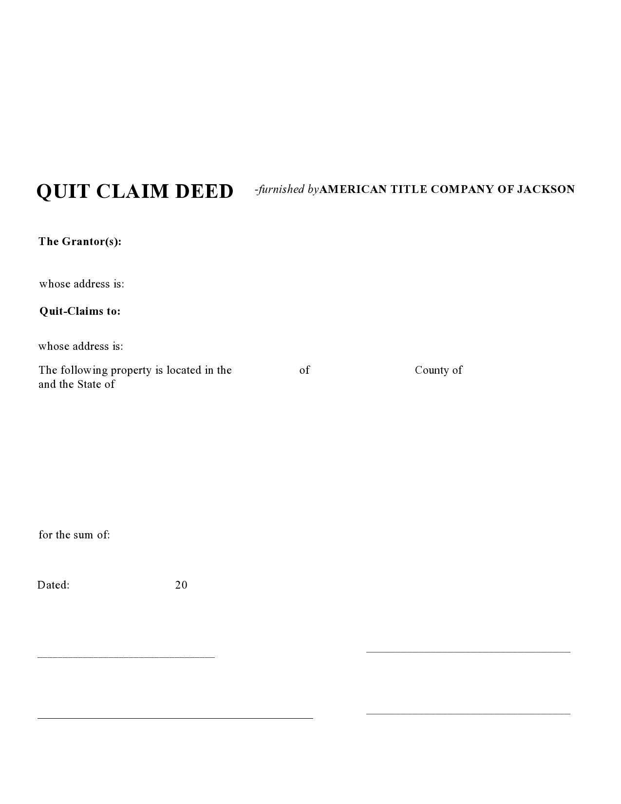 Free quit claim deed form 07
