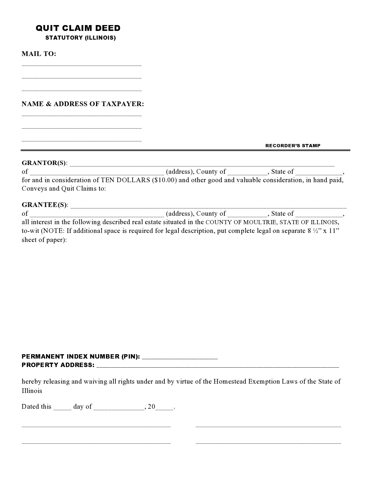 Free quit claim deed form 11