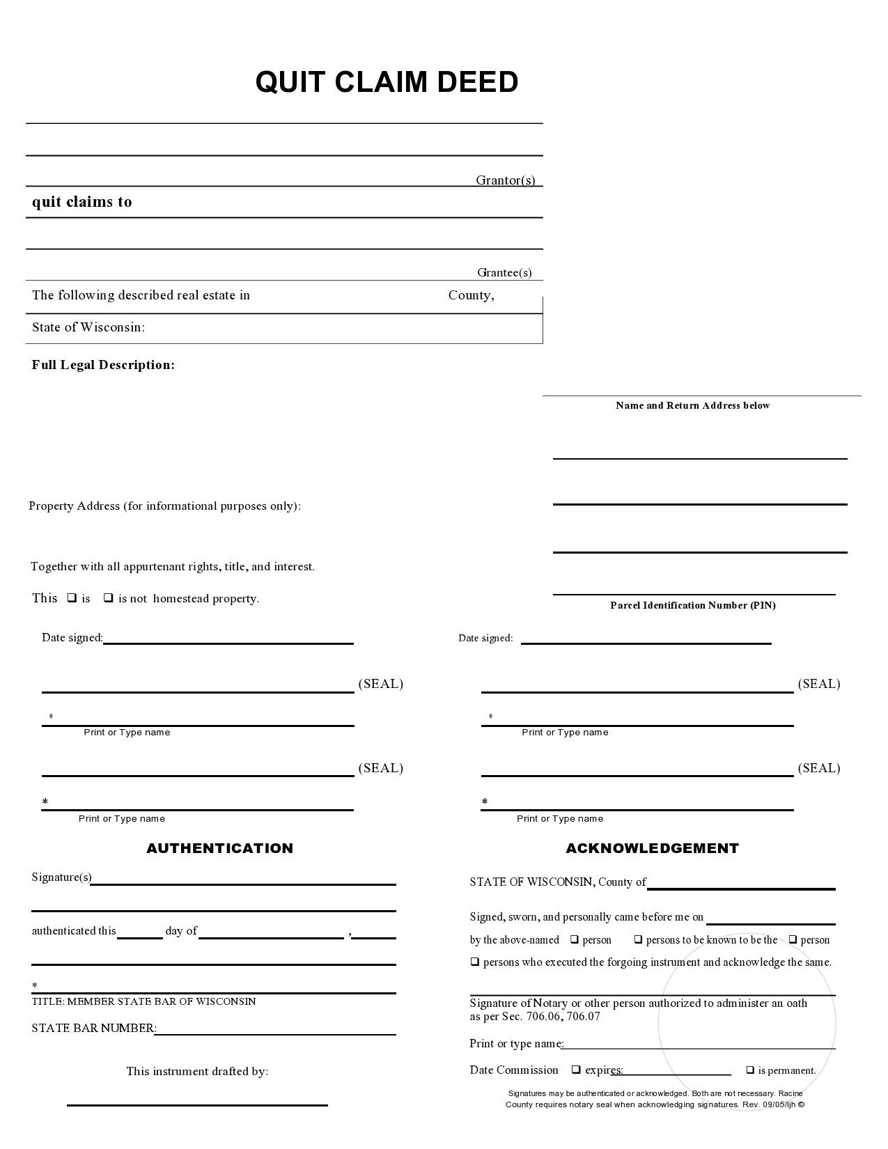 Free quit claim deed form 12