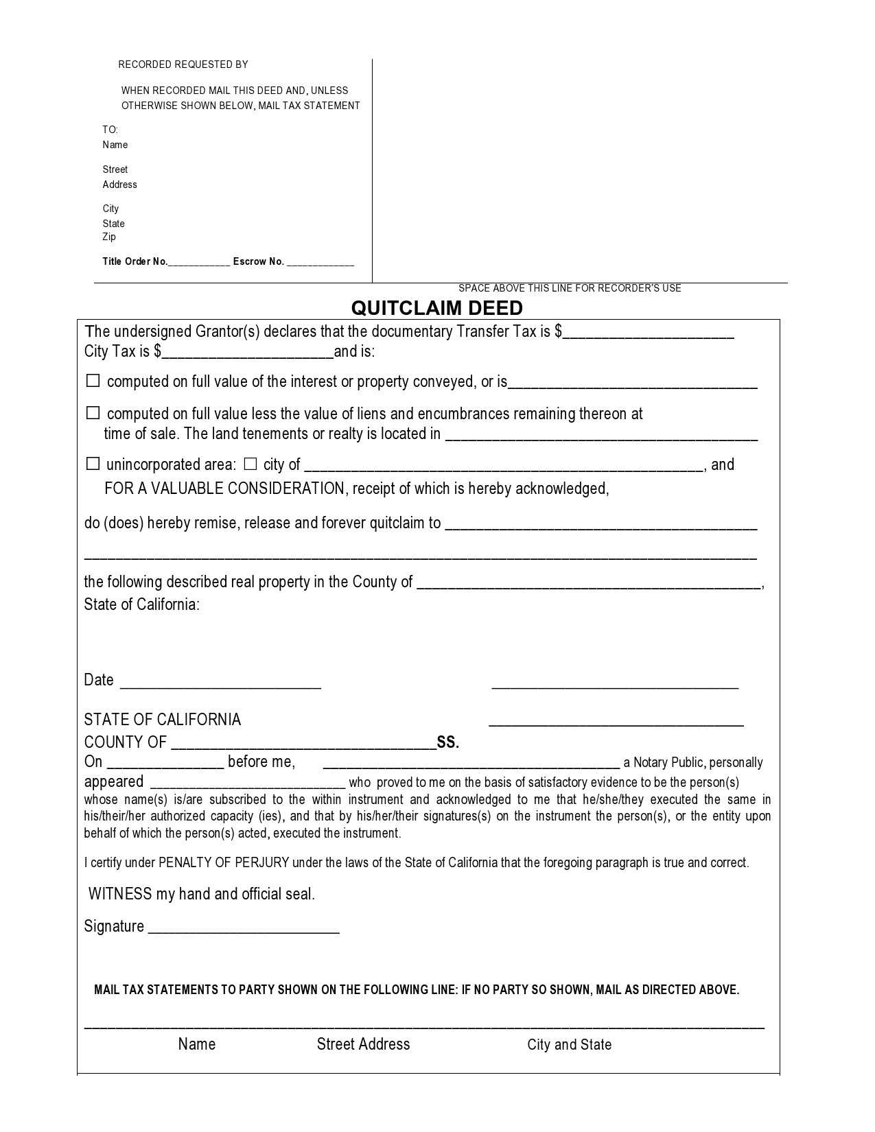 Free quit claim deed form 14