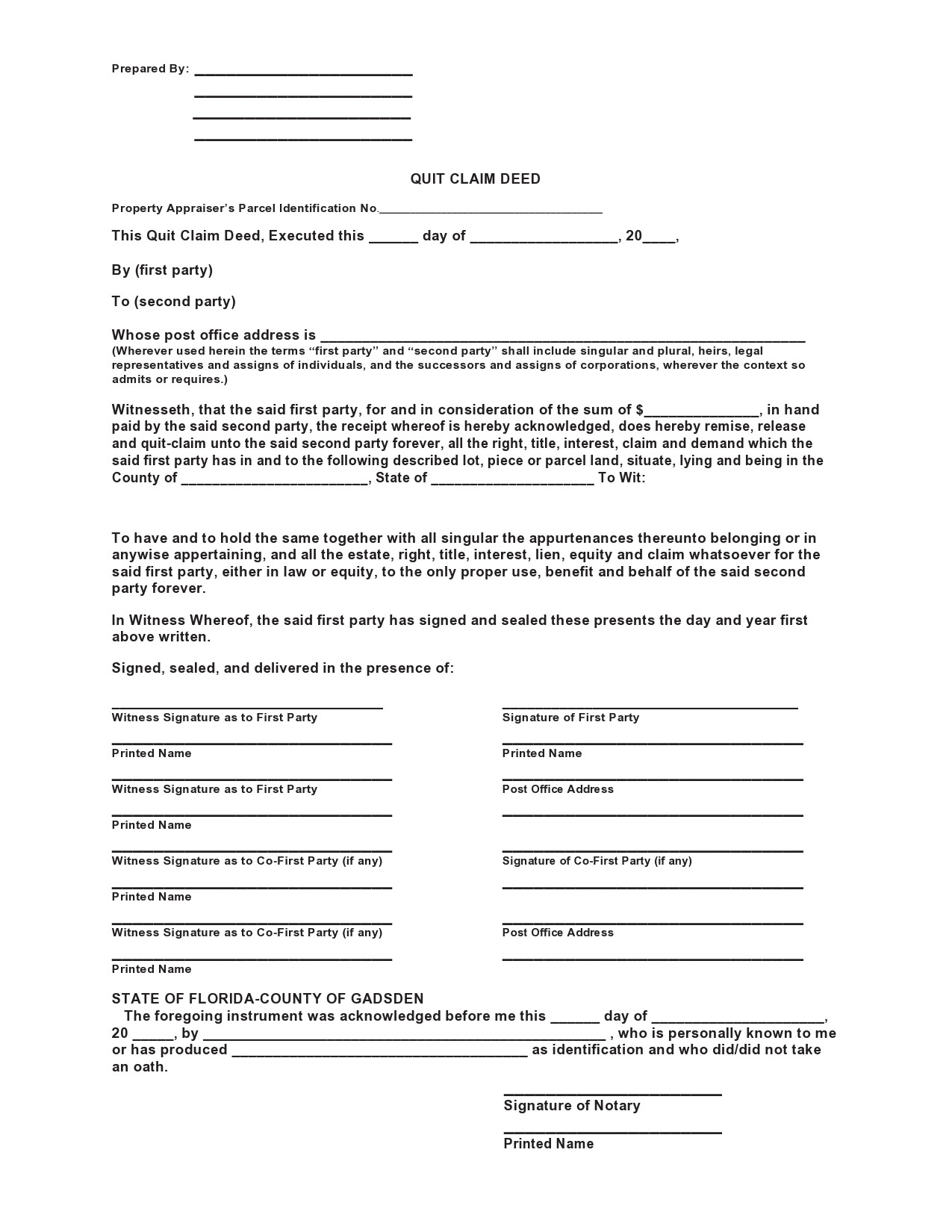 Free quit claim deed form 15